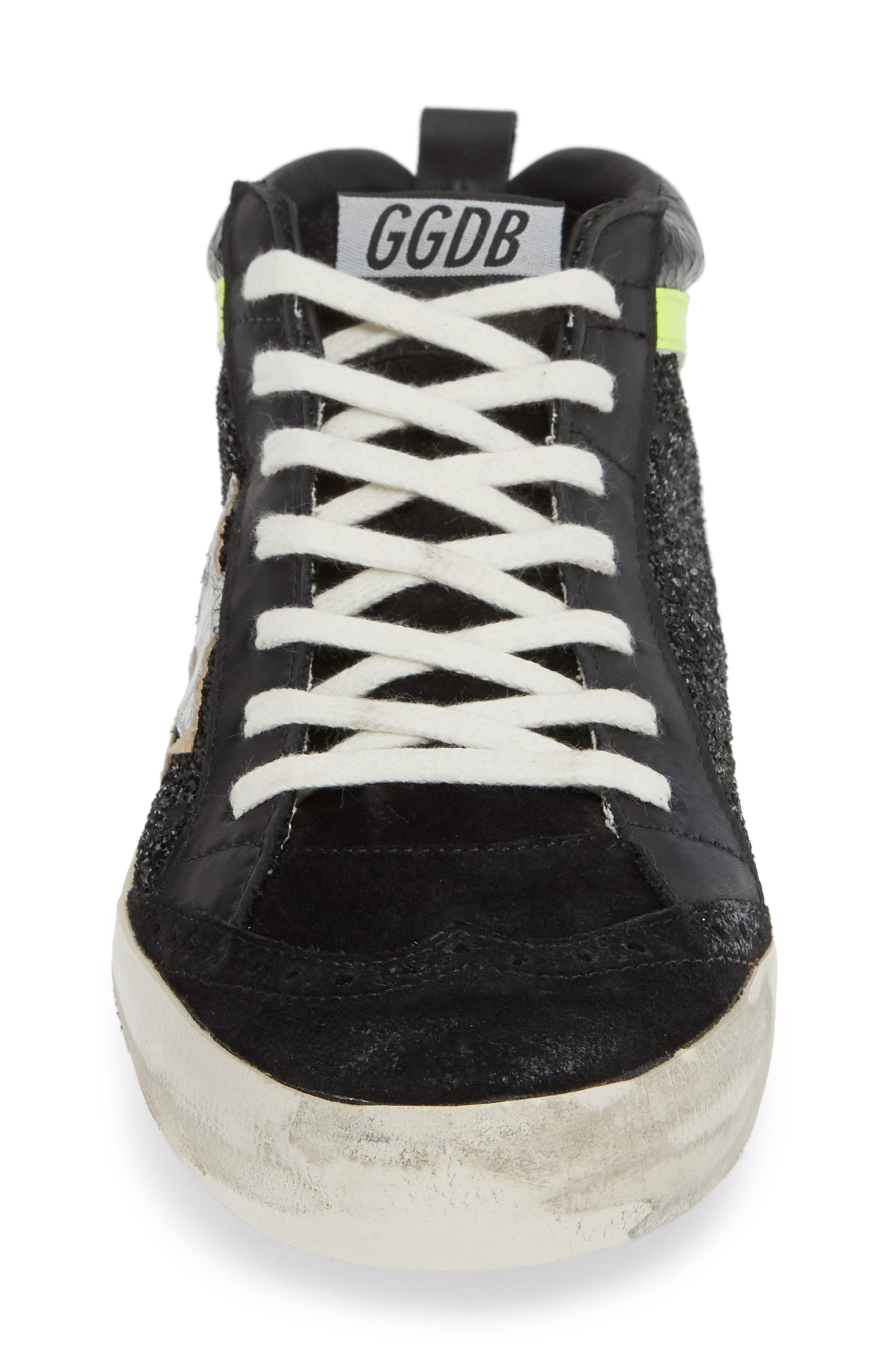 Mid Top Sneaker,                             Alternate thumbnail 4, color,                             BLACK/ YELLOW/ SILVER