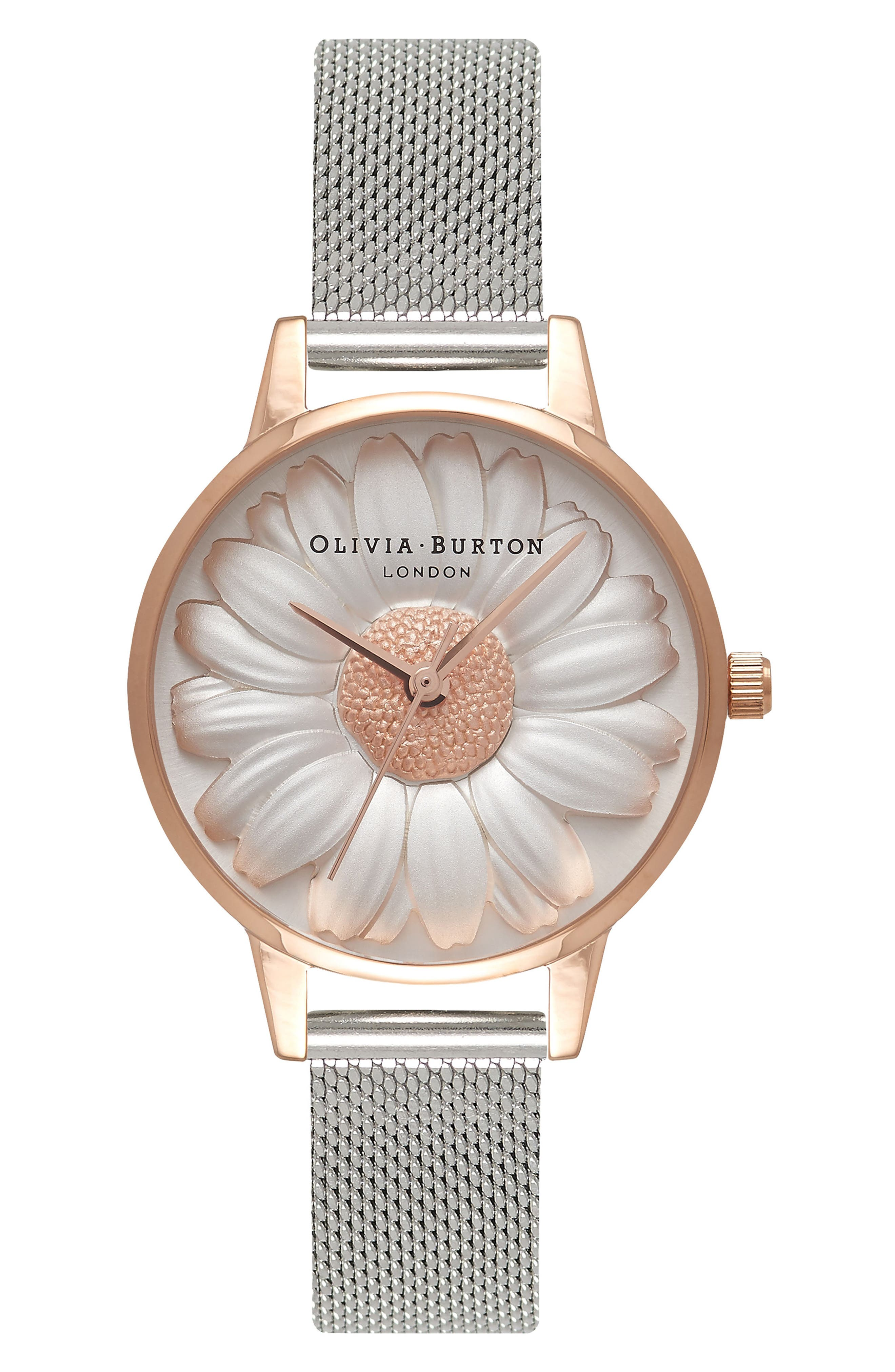 Flower Show Mesh Strap Watch, 30mm,                             Main thumbnail 1, color,                             SILVER/ DAISY/ ROSE GOLD