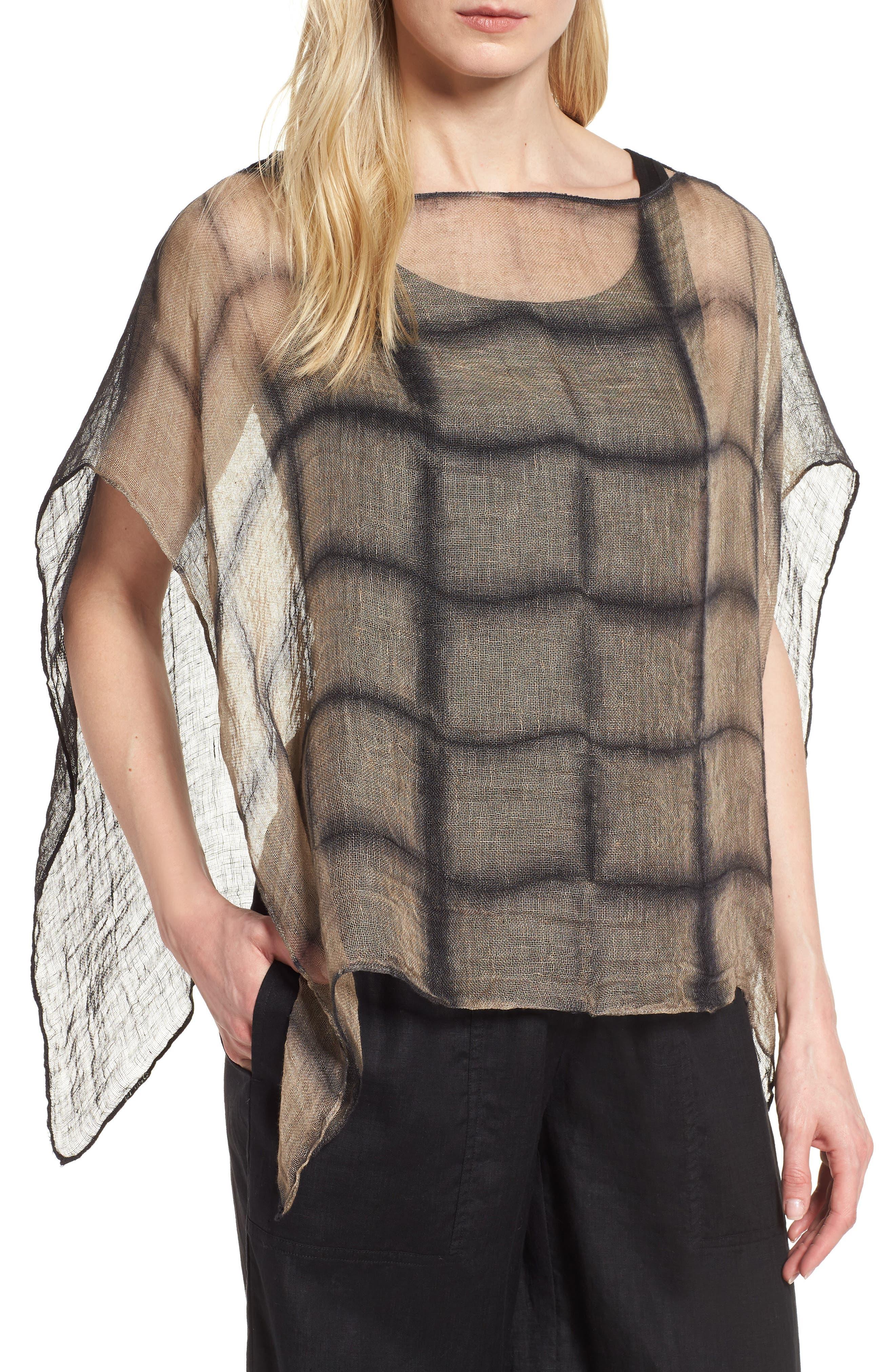Organic Linen Poncho,                             Main thumbnail 1, color,                             001