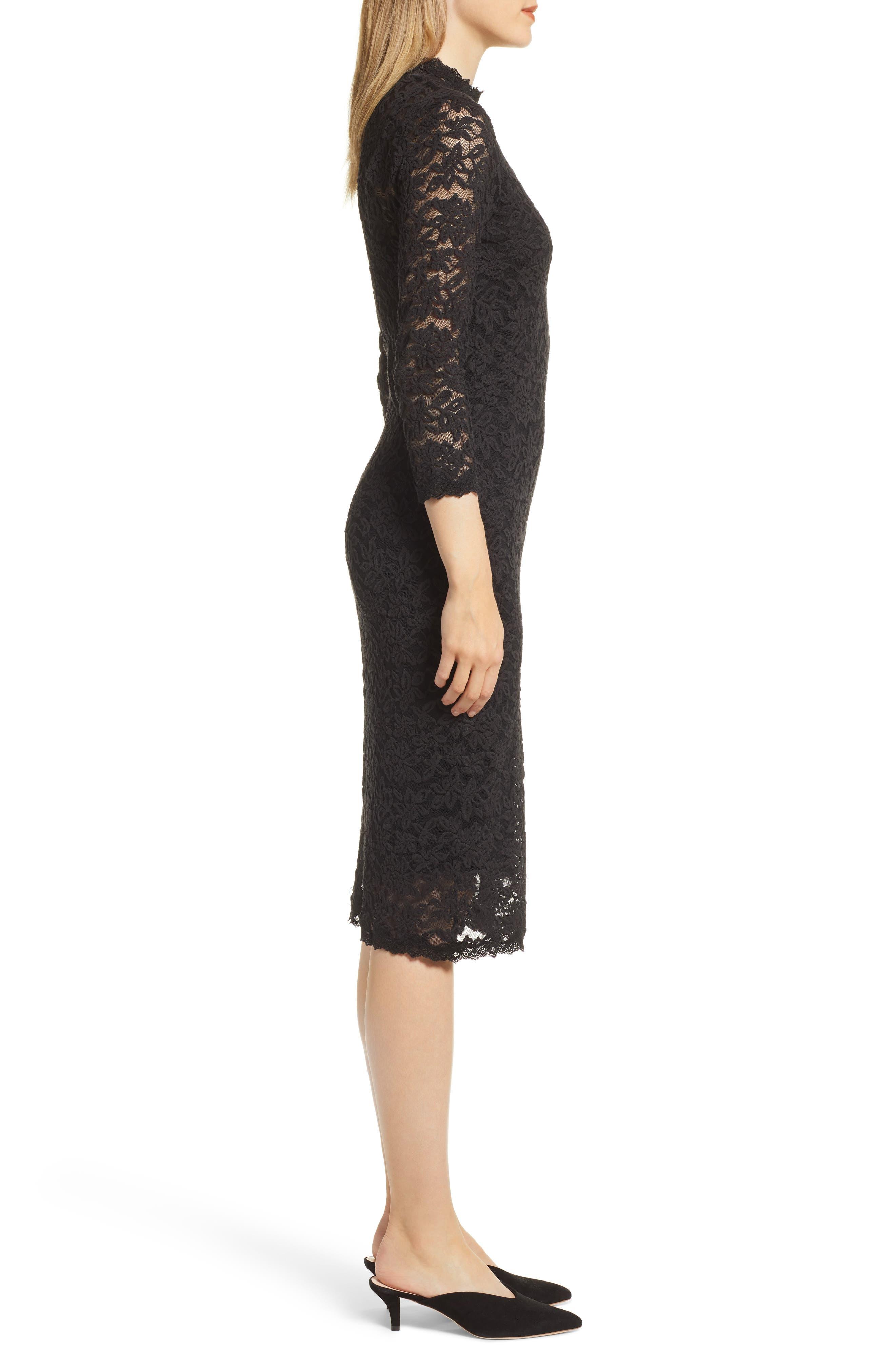 Delicia Lace Body-Con Dress,                             Alternate thumbnail 3, color,                             BLACK SILVER
