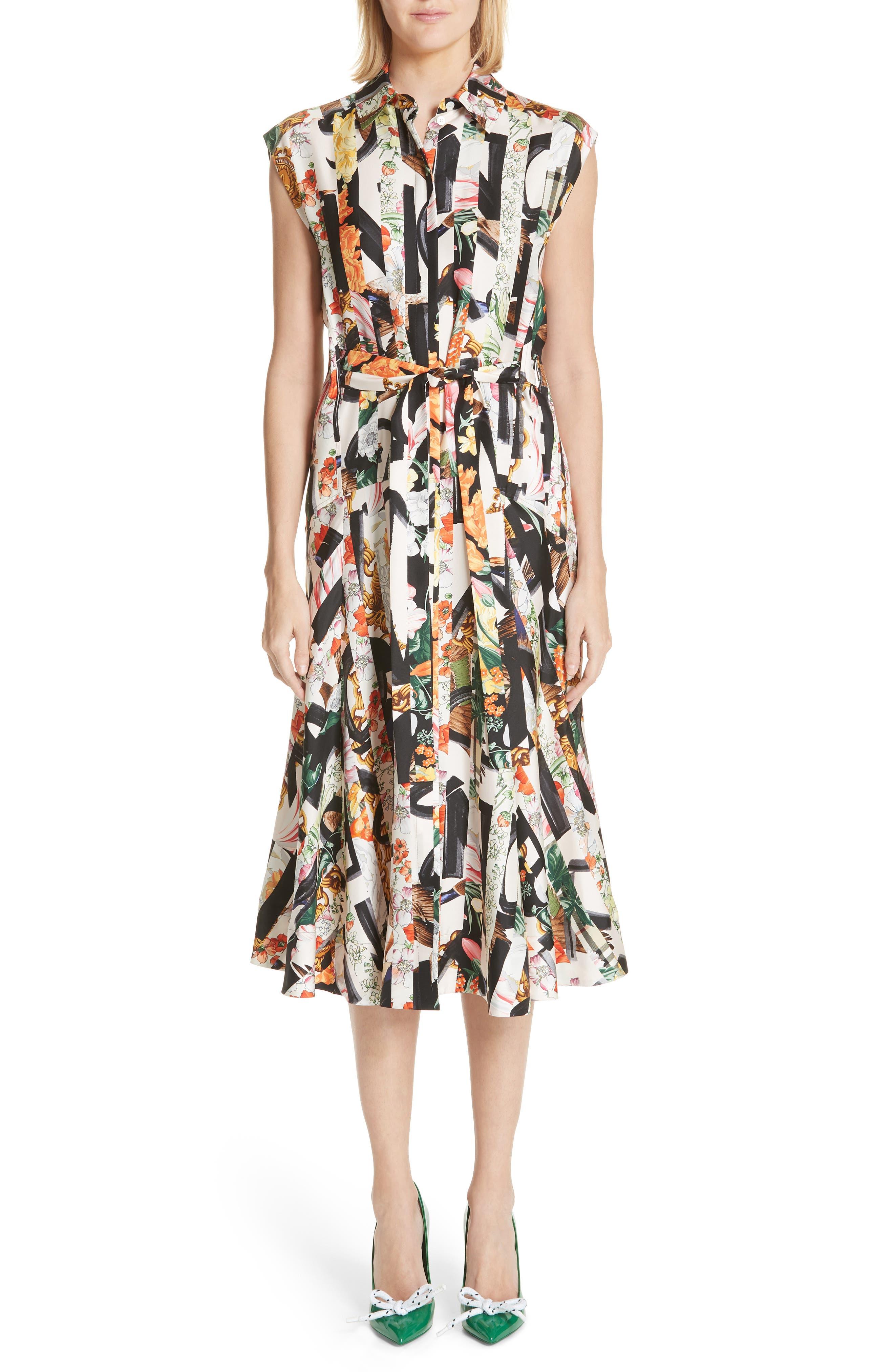 Sacha Silk Dress,                             Alternate thumbnail 6, color,                             MULTICOLOUR IP PTTN