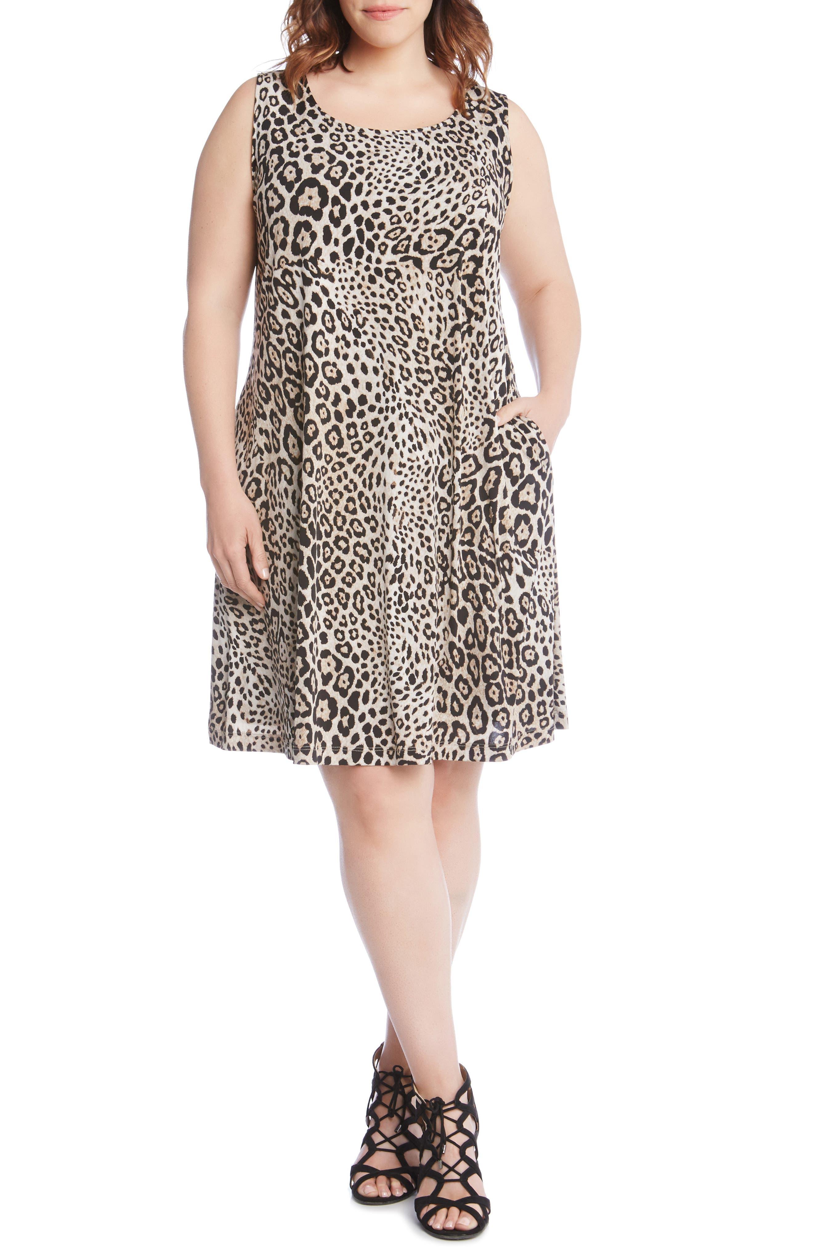 Plus Size Karen Kane Chloe Leopard Print A-Line Dress
