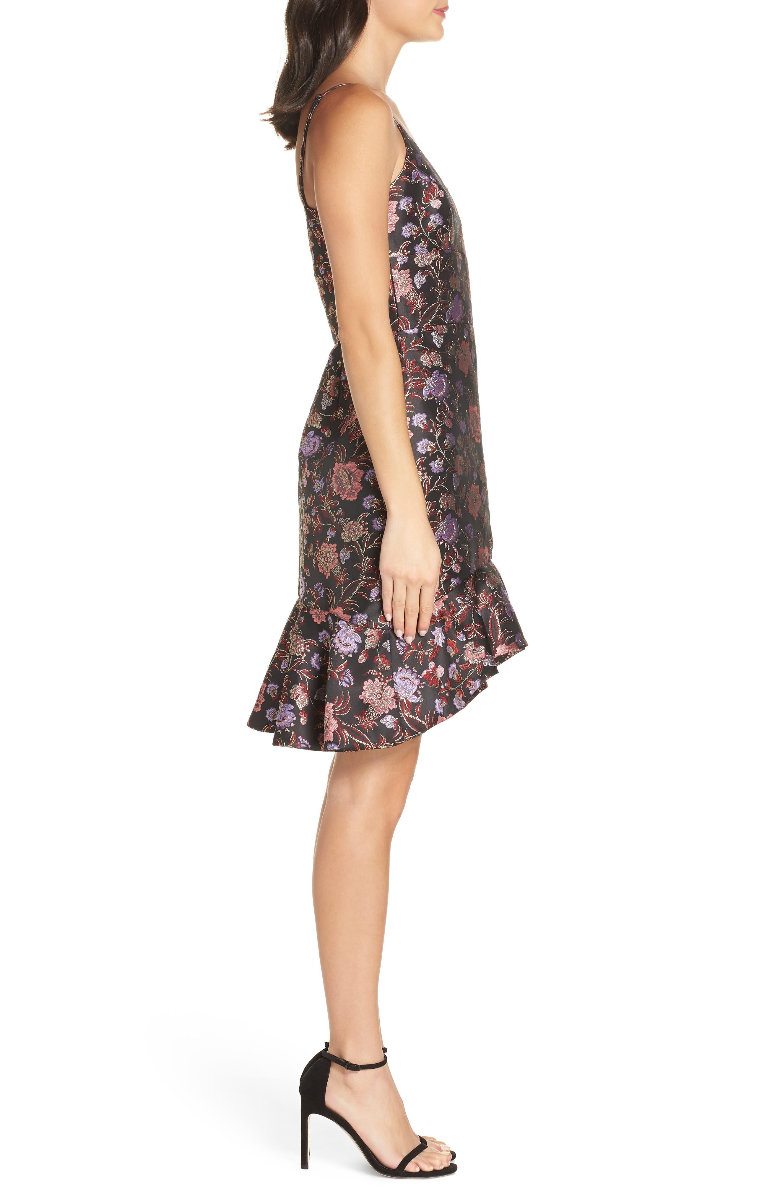 Metallic Jacquard Ruffle Hem Dress,                             Alternate thumbnail 3, color,                             BLACK / PINK COMBO