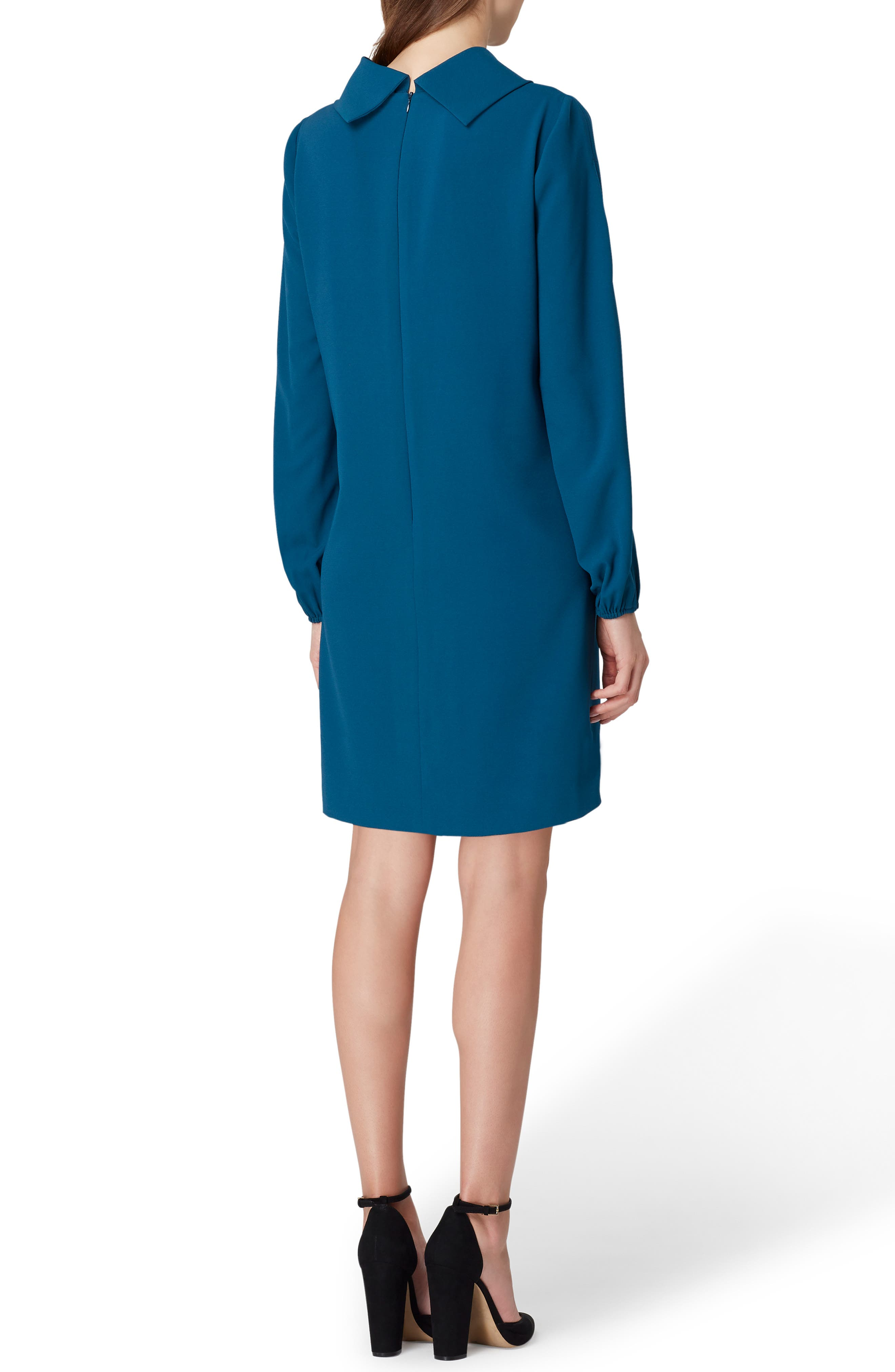 Crepe Shift Dress,                             Alternate thumbnail 2, color,                             OCEAN TEAL