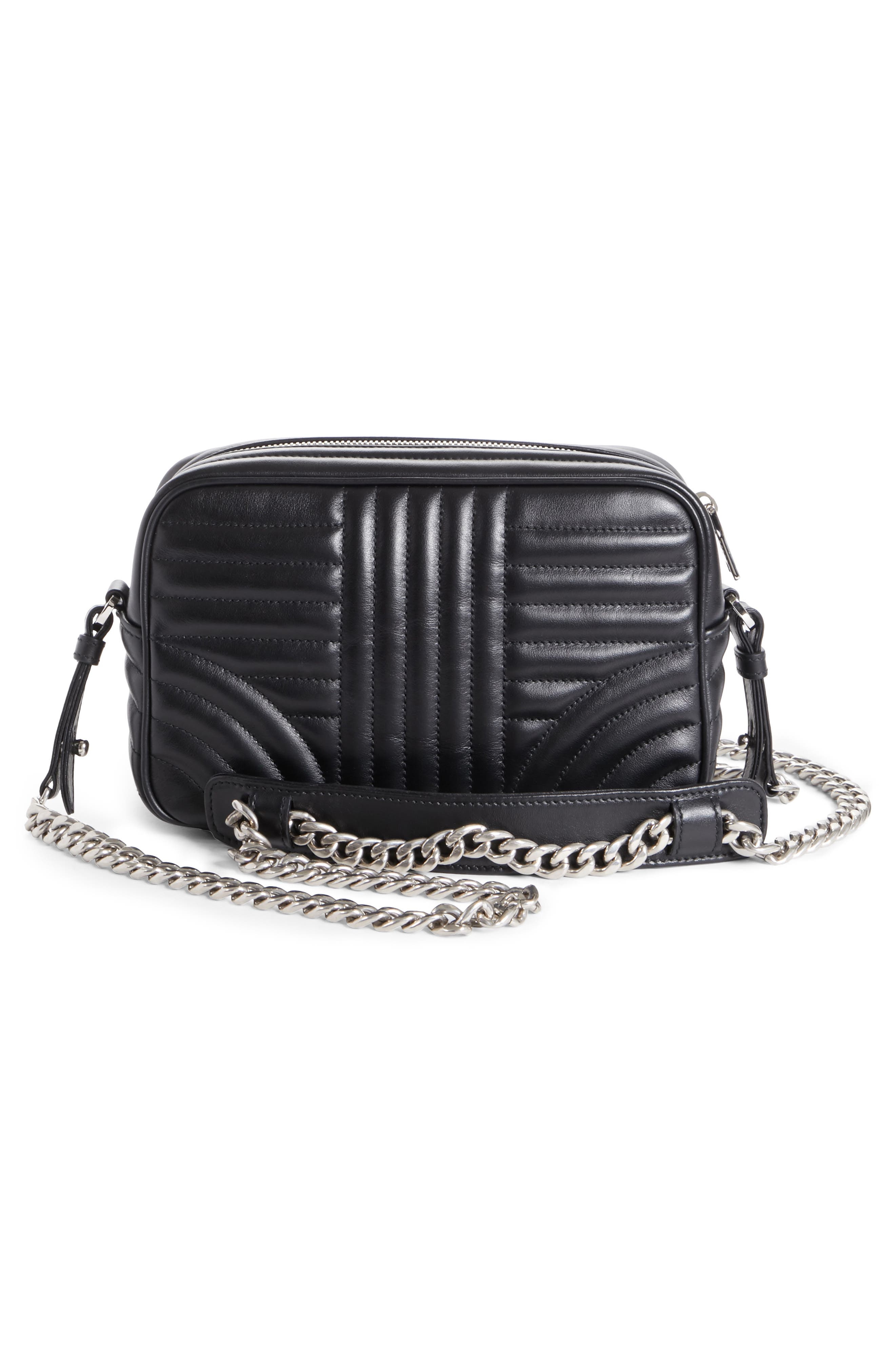 Small Quilted Bowler Crossbody Bag,                             Alternate thumbnail 3, color,                             NERO