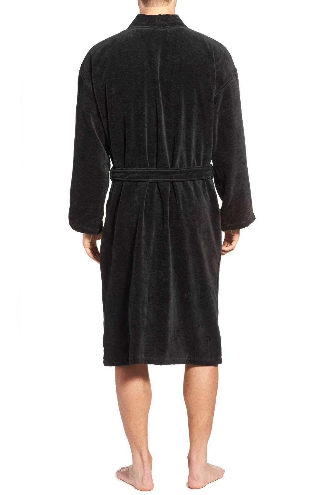 Cotton Fleece Robe,                             Alternate thumbnail 4, color,                             POLO BLACK