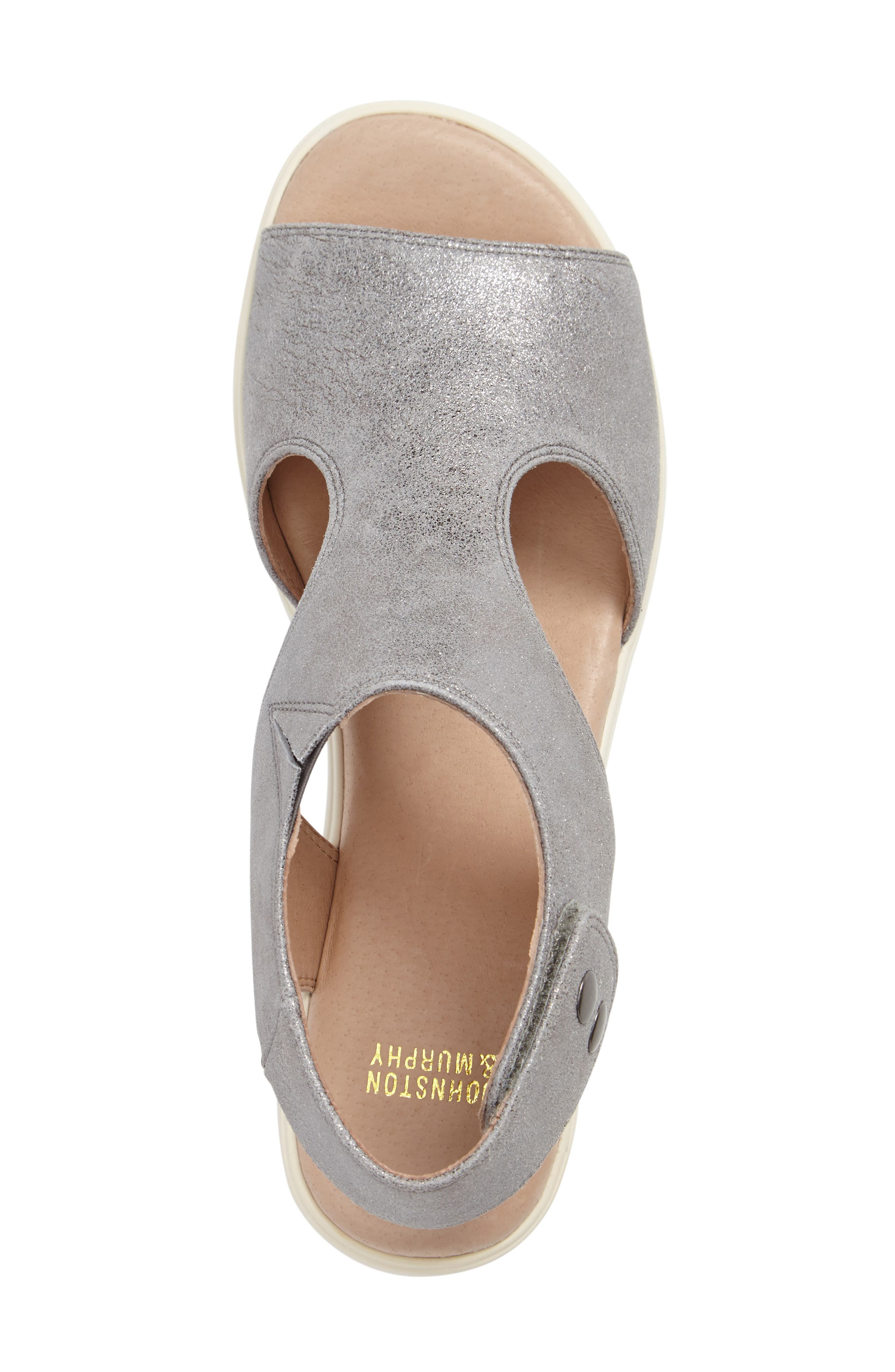 Camilla Slingback Wedge Sandal,                             Alternate thumbnail 3, color,                             SILVER METALLIC SUEDE