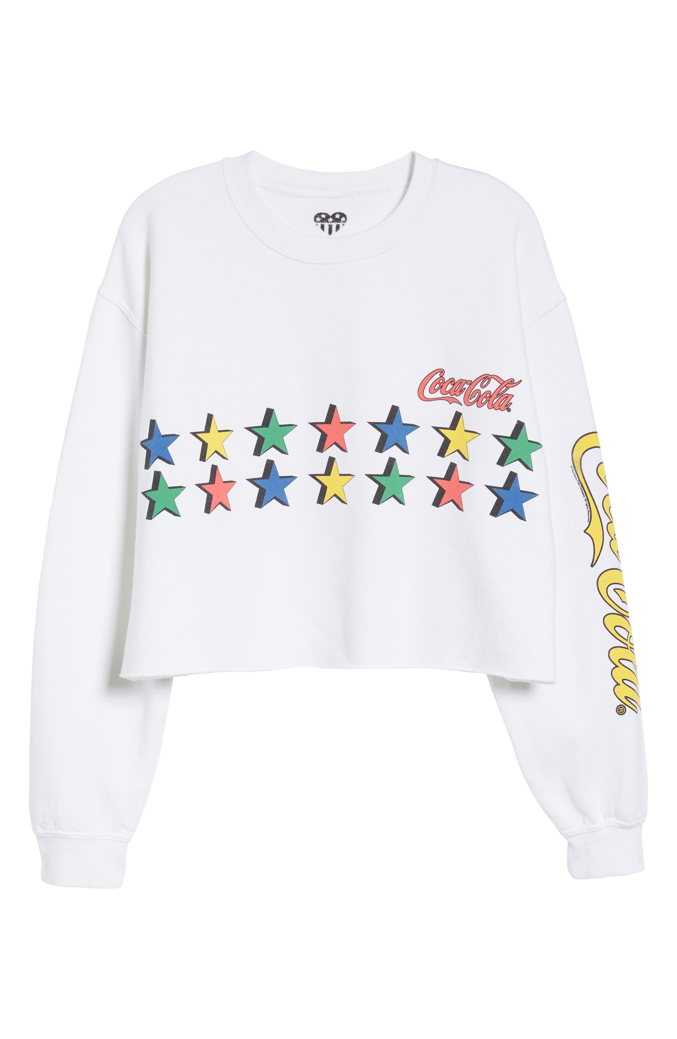 Coke Stars Crop Sweatshirt,                             Alternate thumbnail 6, color,