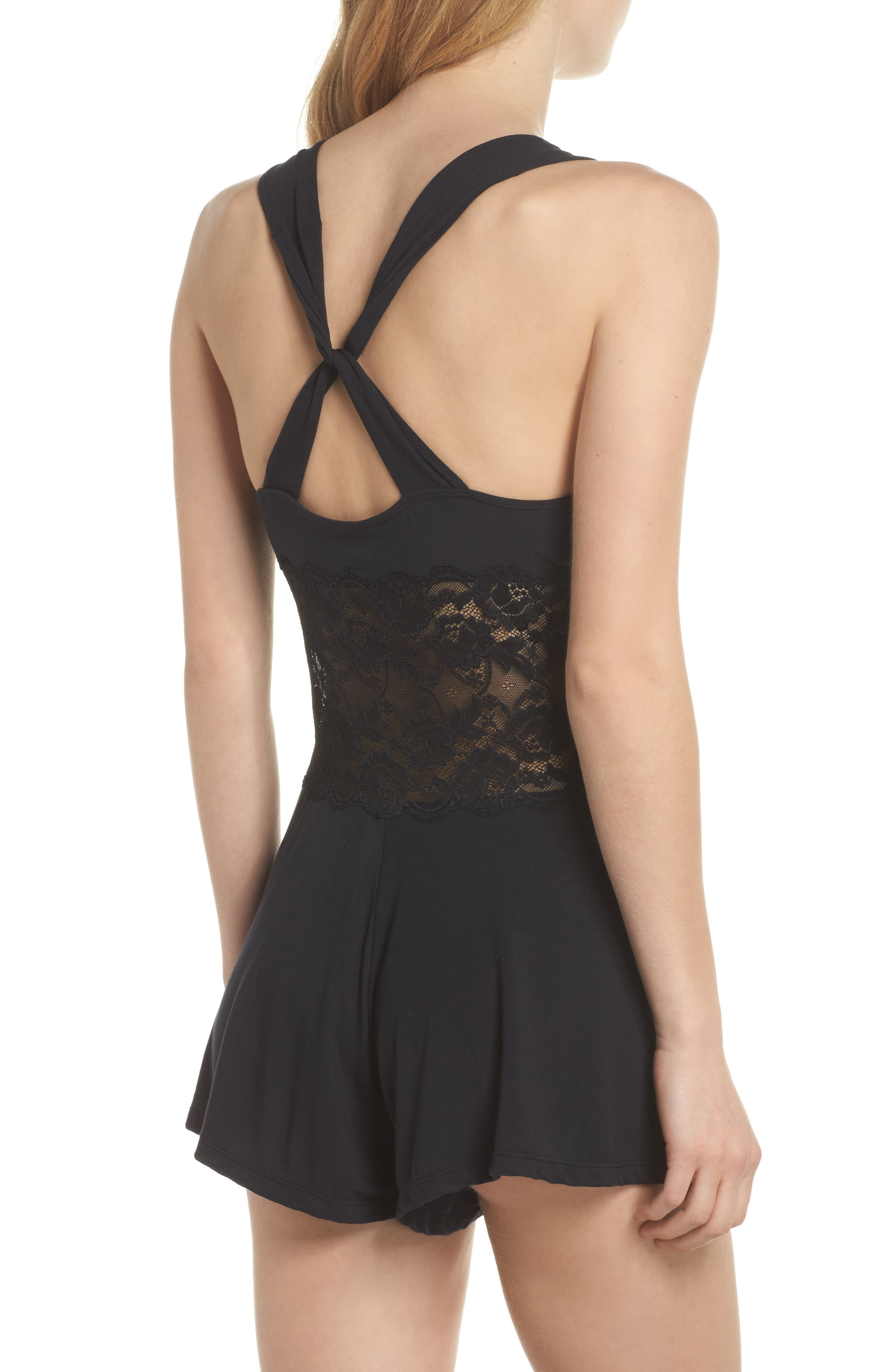 Jessica Lace Corset Romper,                             Alternate thumbnail 2, color,                             002