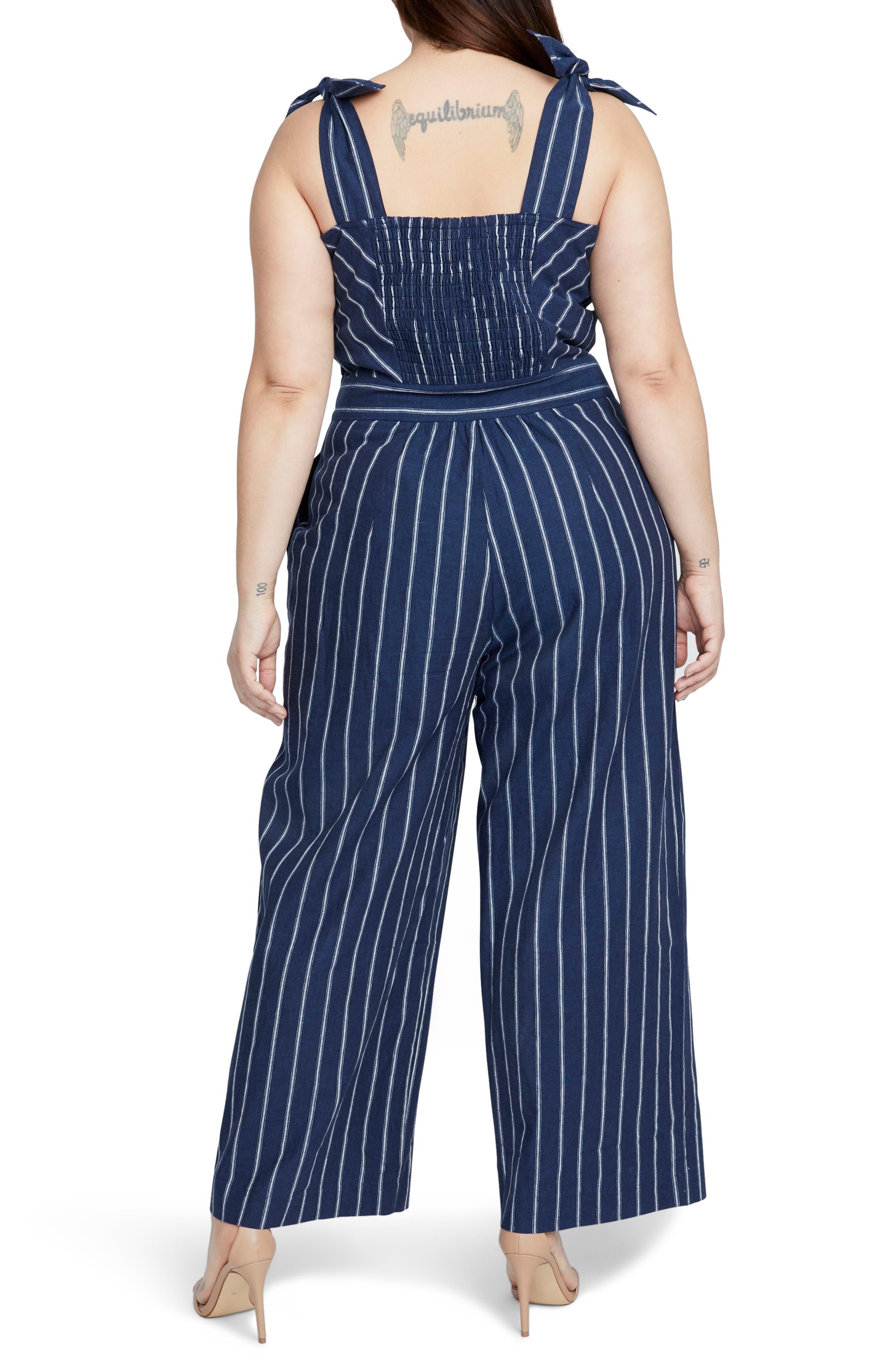 Stripe Linen & Cotton Jumpsuit,                             Alternate thumbnail 2, color,                             INDIGO EGGSHELL COMBO