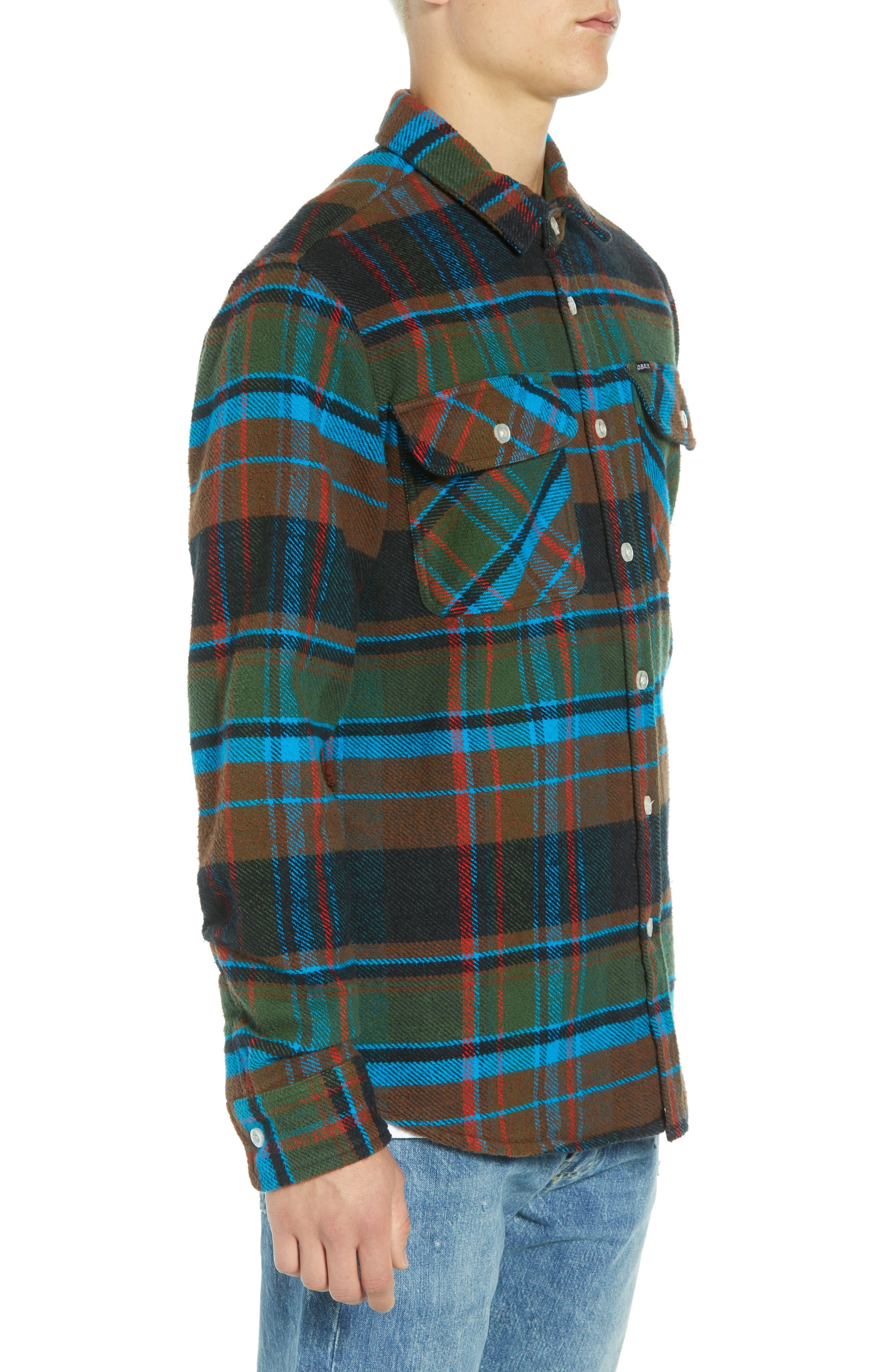Homebound Heavy Plaid Flannel Shirt Jacket,                             Alternate thumbnail 4, color,                             BLACK FORREST MULTI