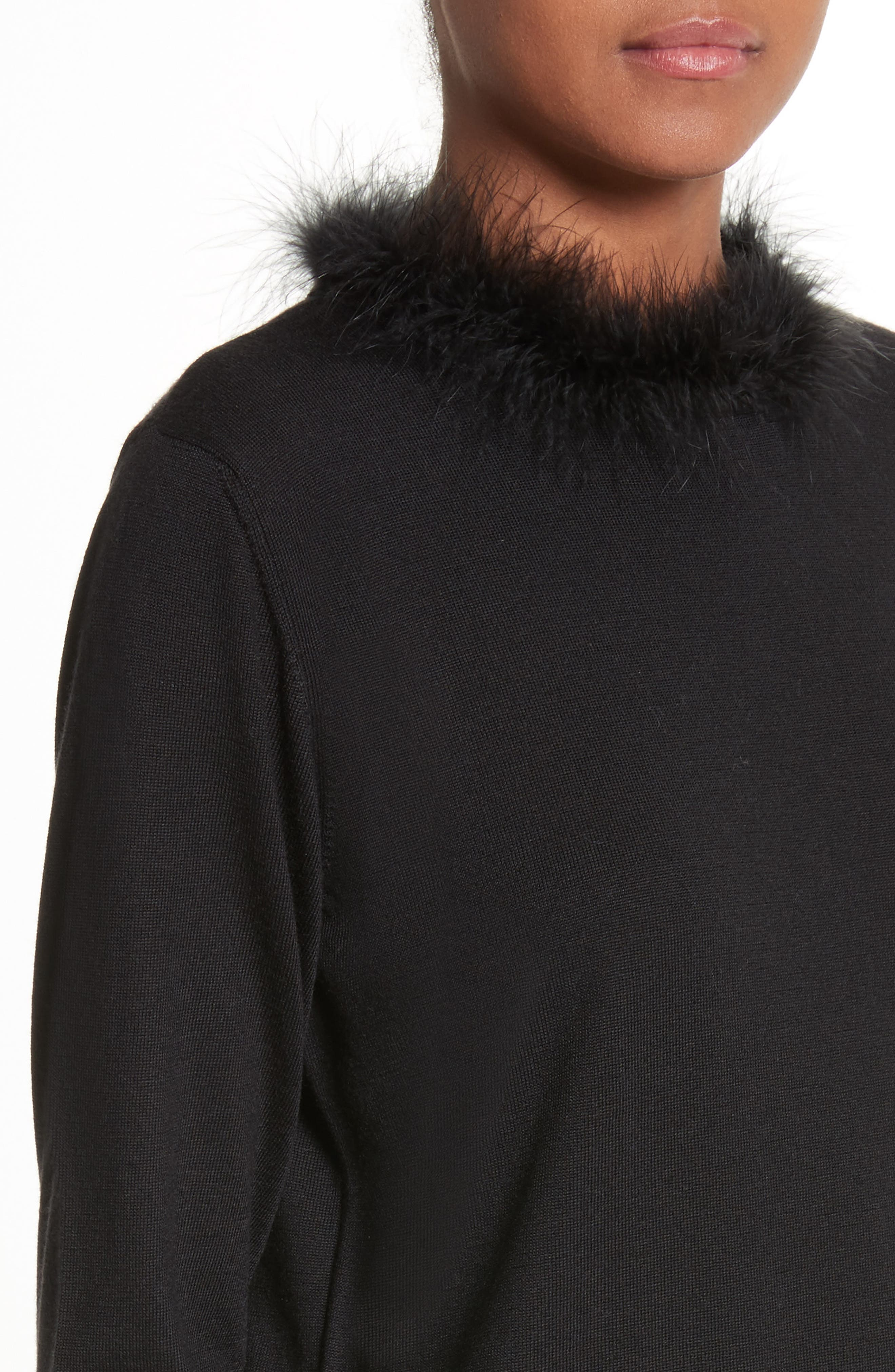 Teddy Open Back Sweater with Feather Trim,                             Alternate thumbnail 4, color,                             001
