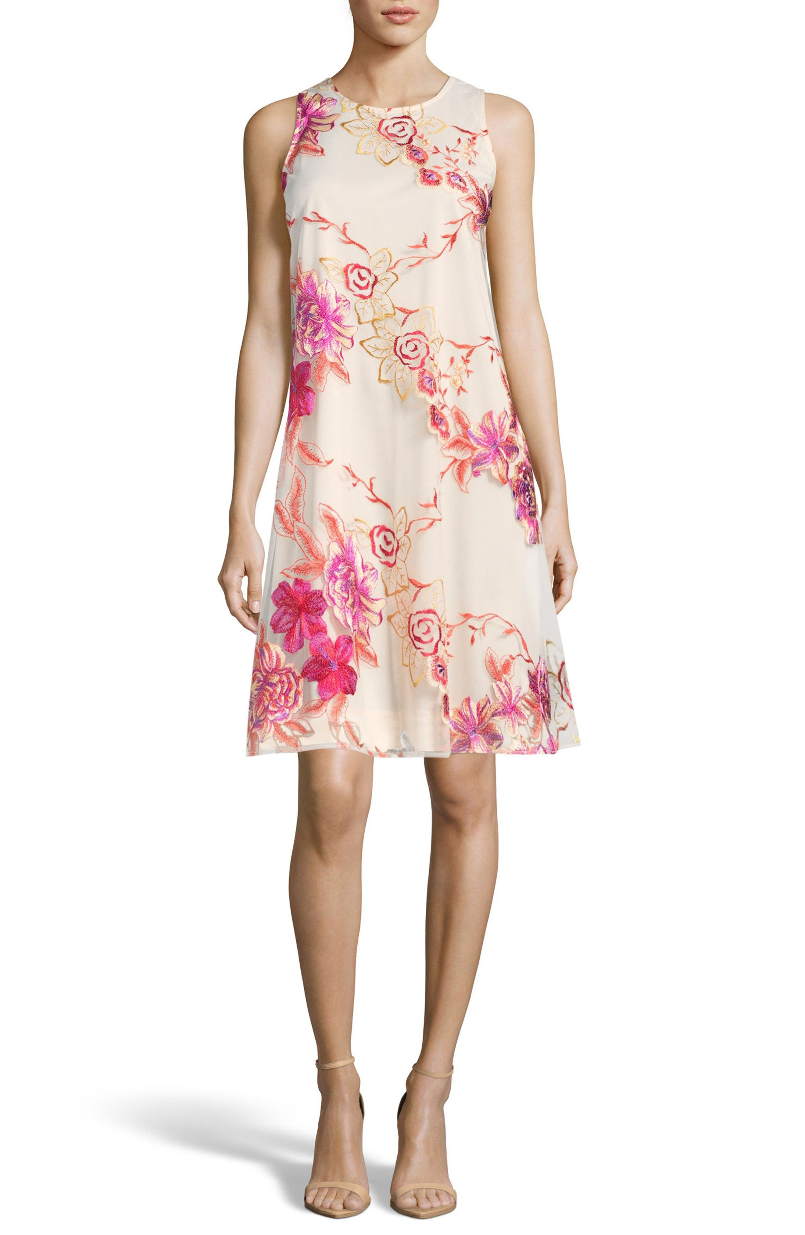 Embroidered Shift Dress,                         Main,                         color, PINK