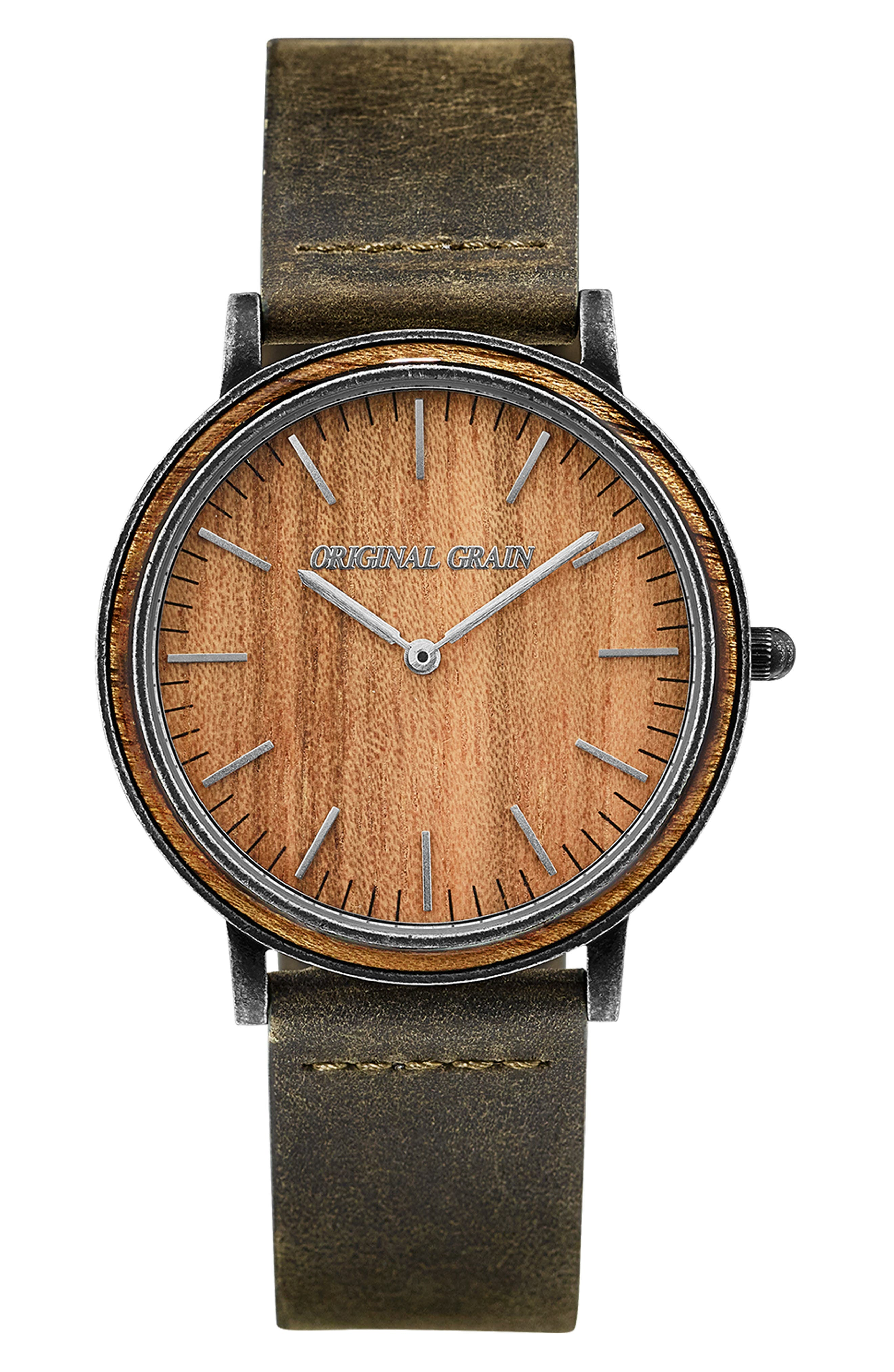 Minimalist Leather Strap Watch, 40mm,                             Main thumbnail 1, color,                             HONEY BROWN