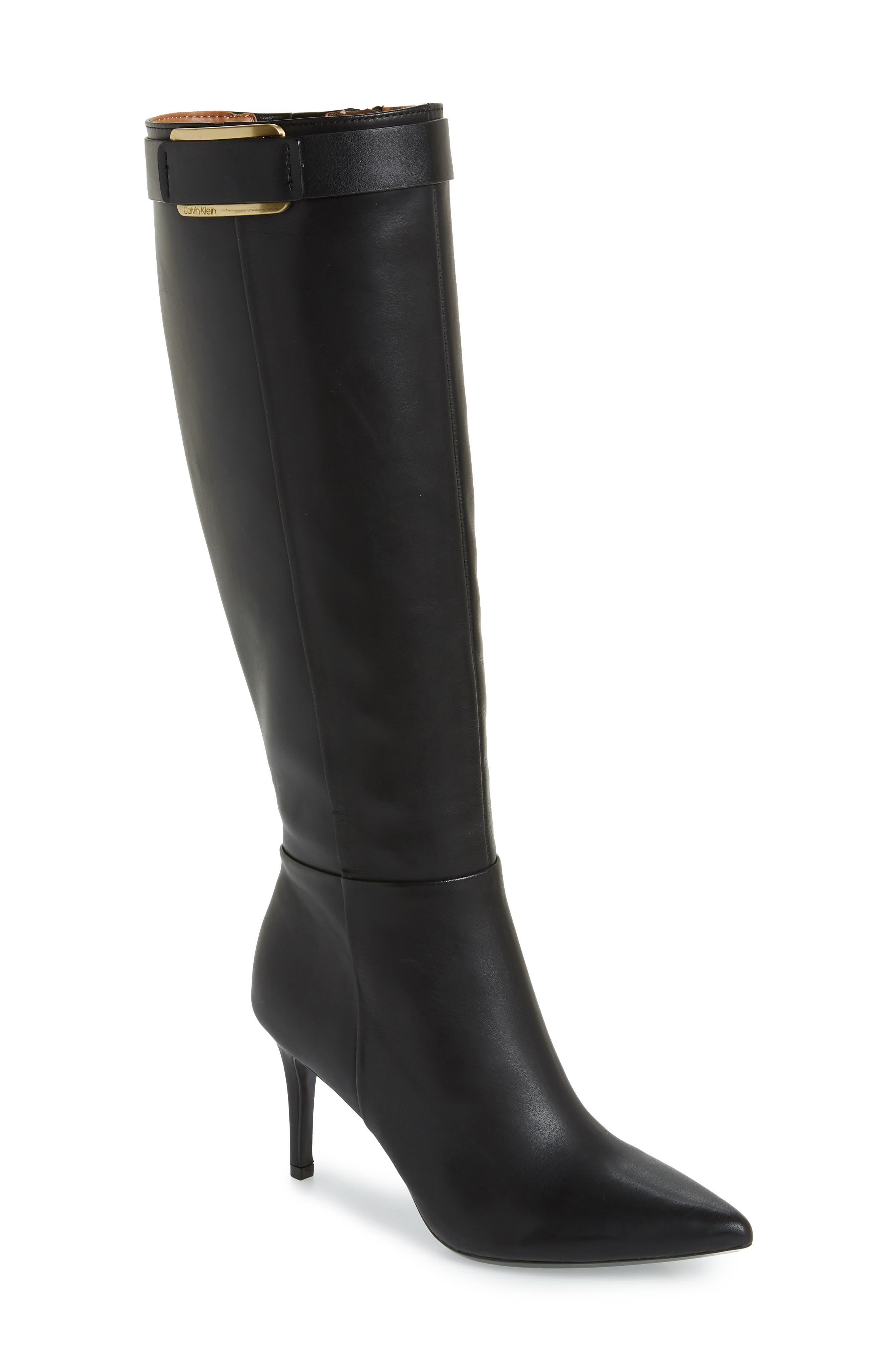 Calvin Klein Glydia Stiletto Knee High Boot Wide Calf- Black