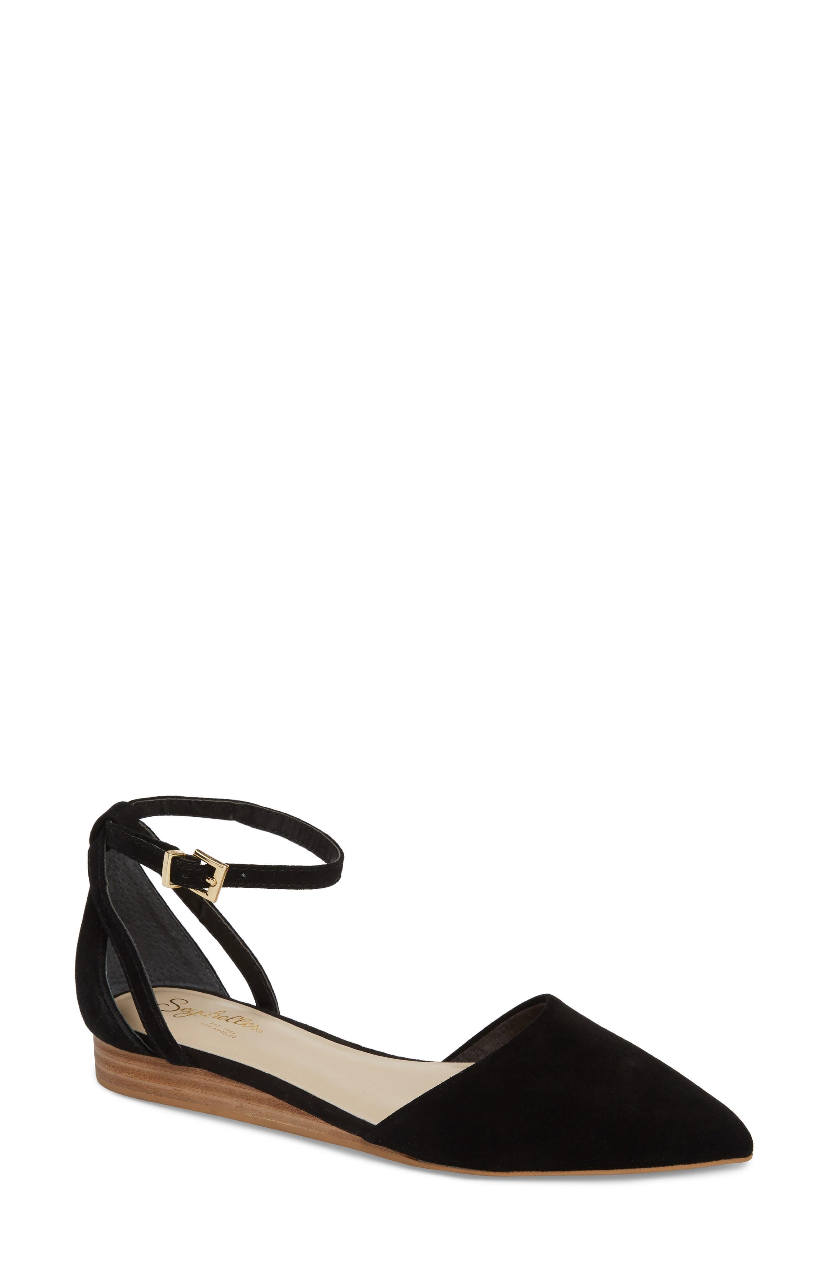 Plateau Ankle Strap Flat,                         Main,                         color, BLACK SUEDE