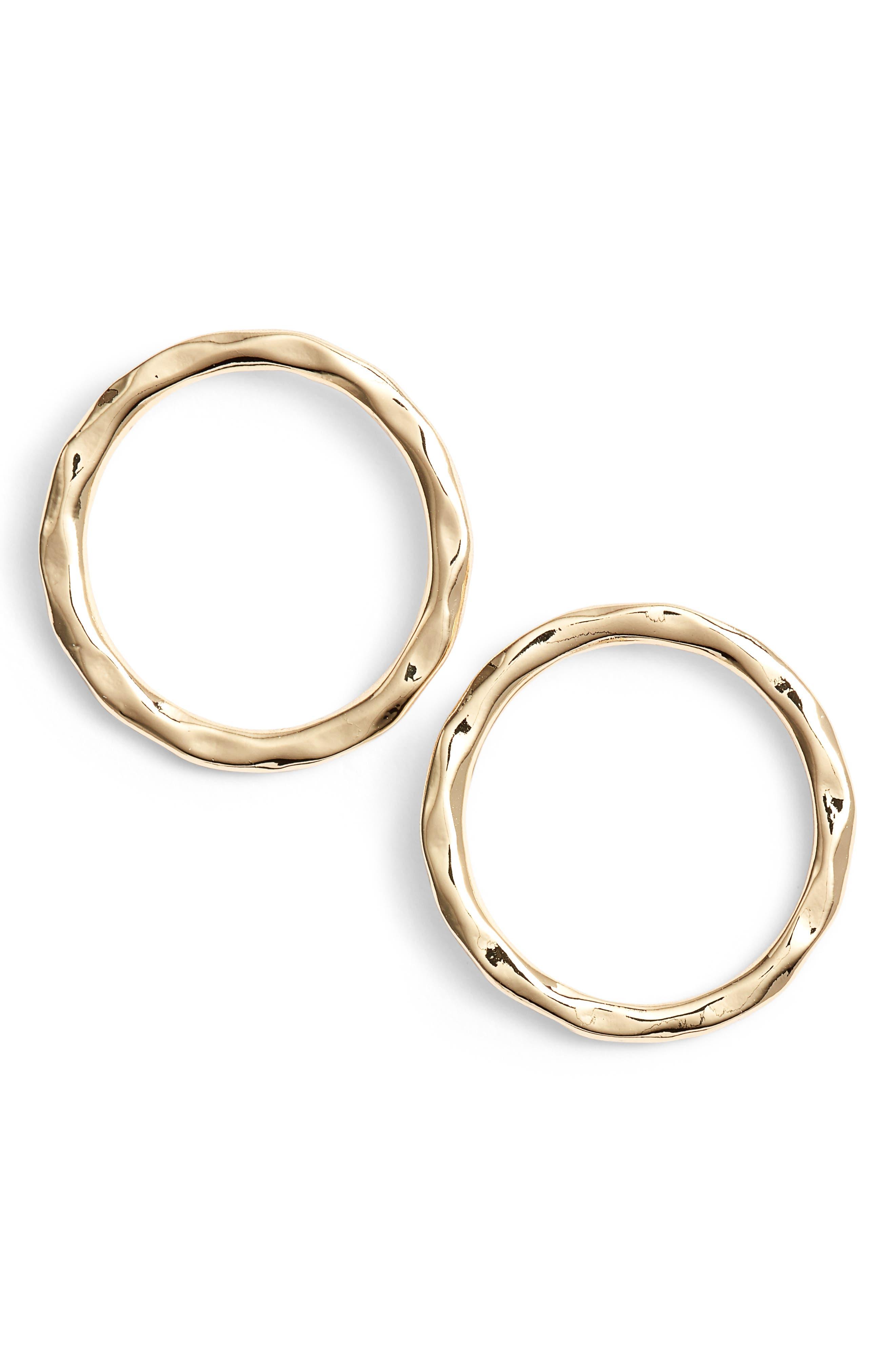 Molten Open Circle Drop Earrings,                             Main thumbnail 1, color,                             GOLD