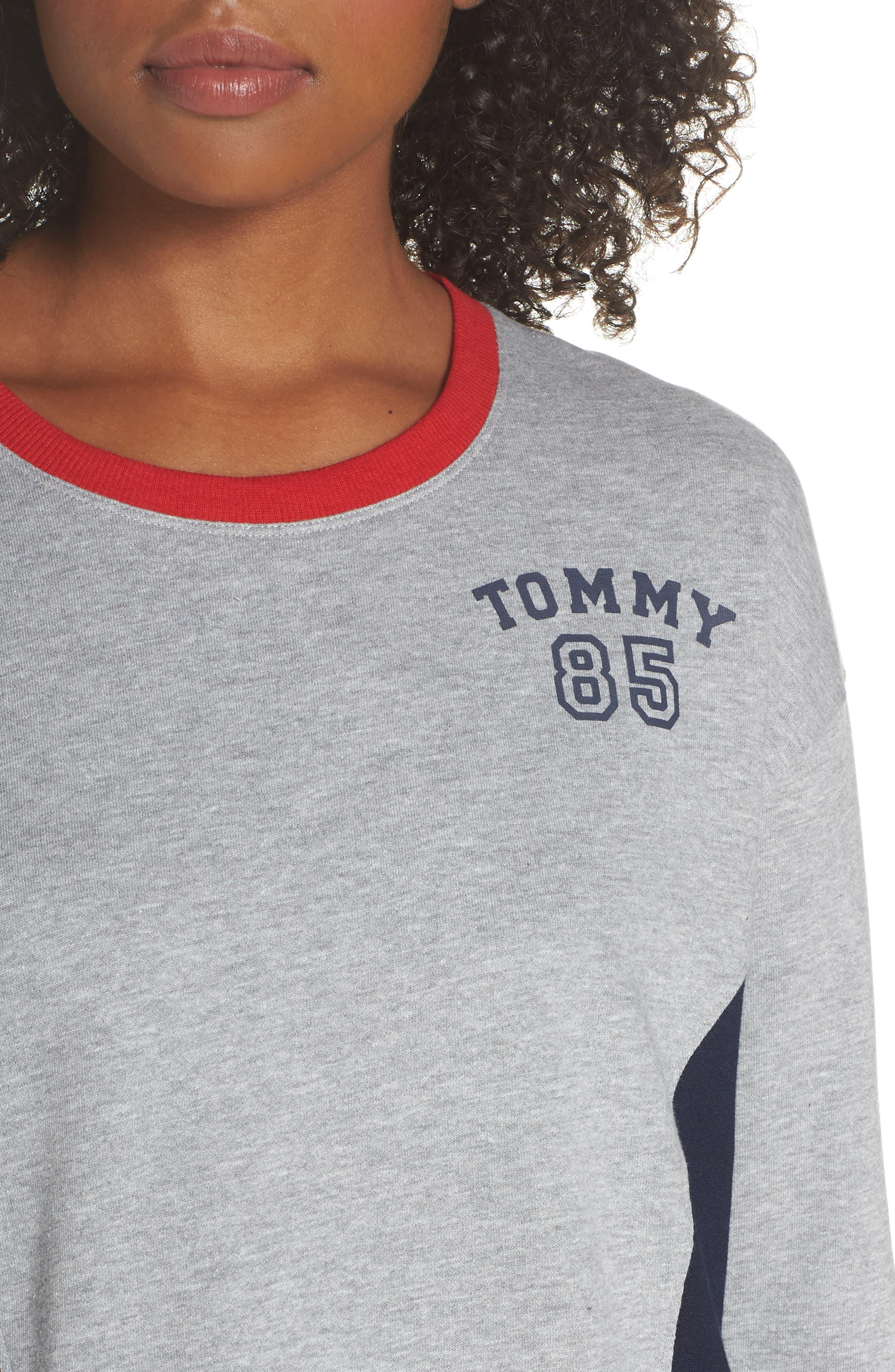 TOMMY HILFIGER,                             Crop Lounge Sweatshirt,                             Alternate thumbnail 4, color,                             025
