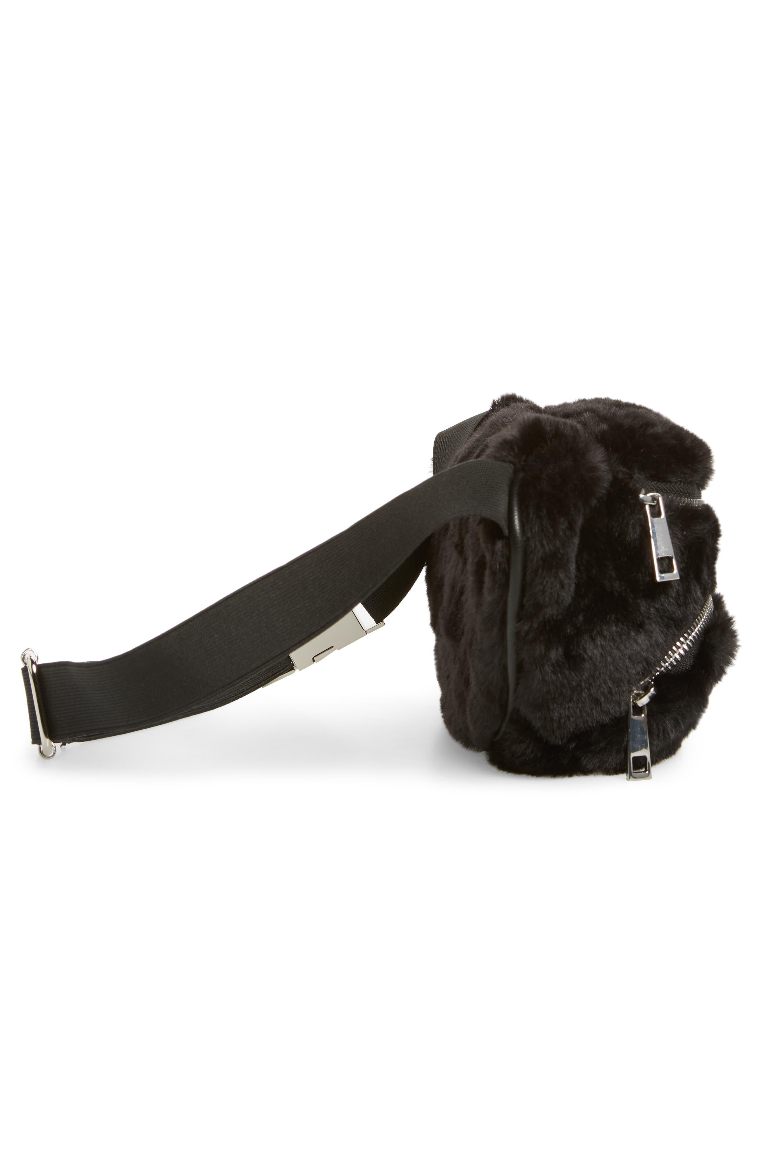Jaida Faux Fur Belt Bag,                             Alternate thumbnail 6, color,                             BLACK