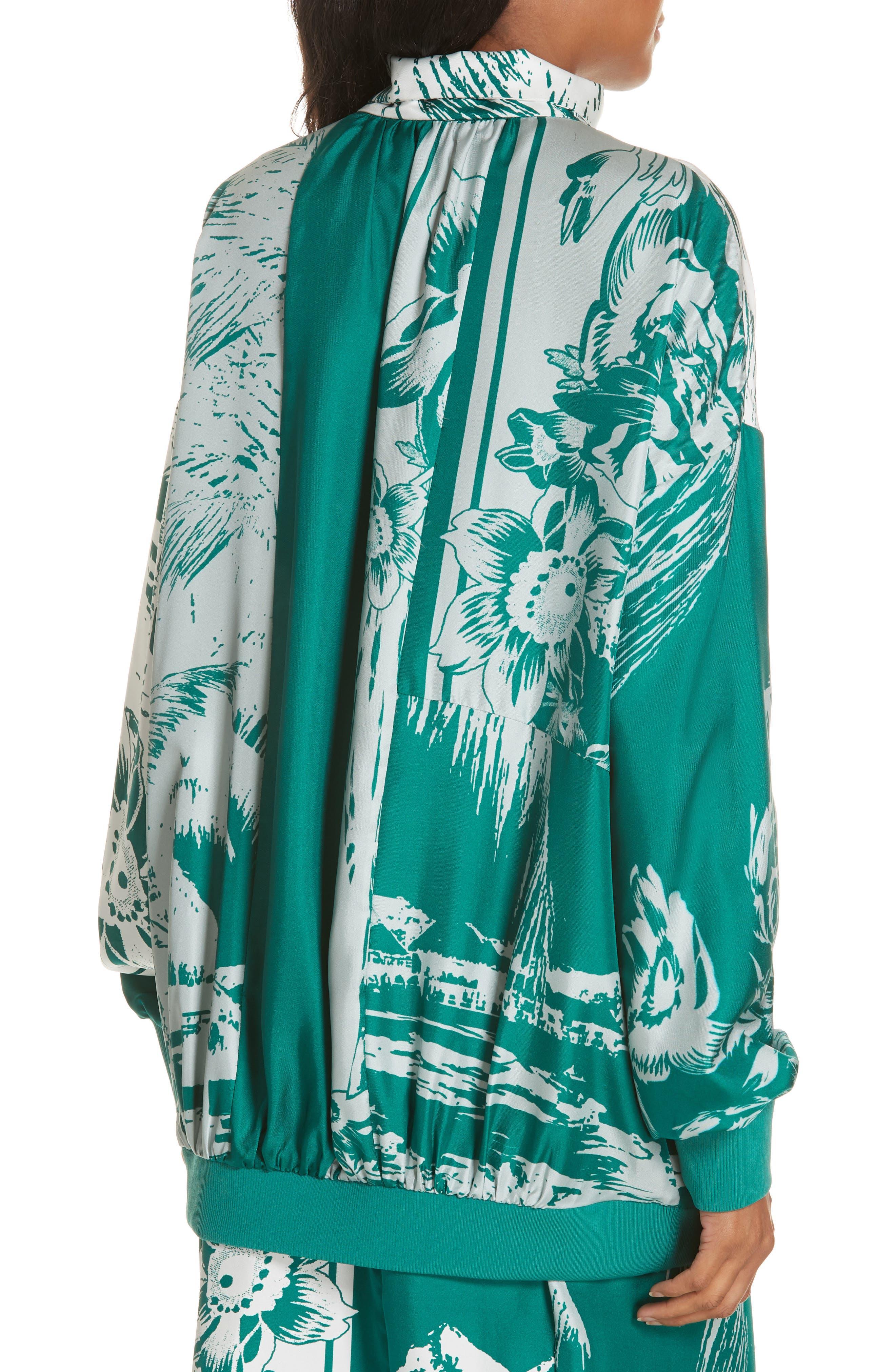 Leilani Print Silk Twill Blouse,                             Alternate thumbnail 2, color,                             TEAL GREEN MULTI