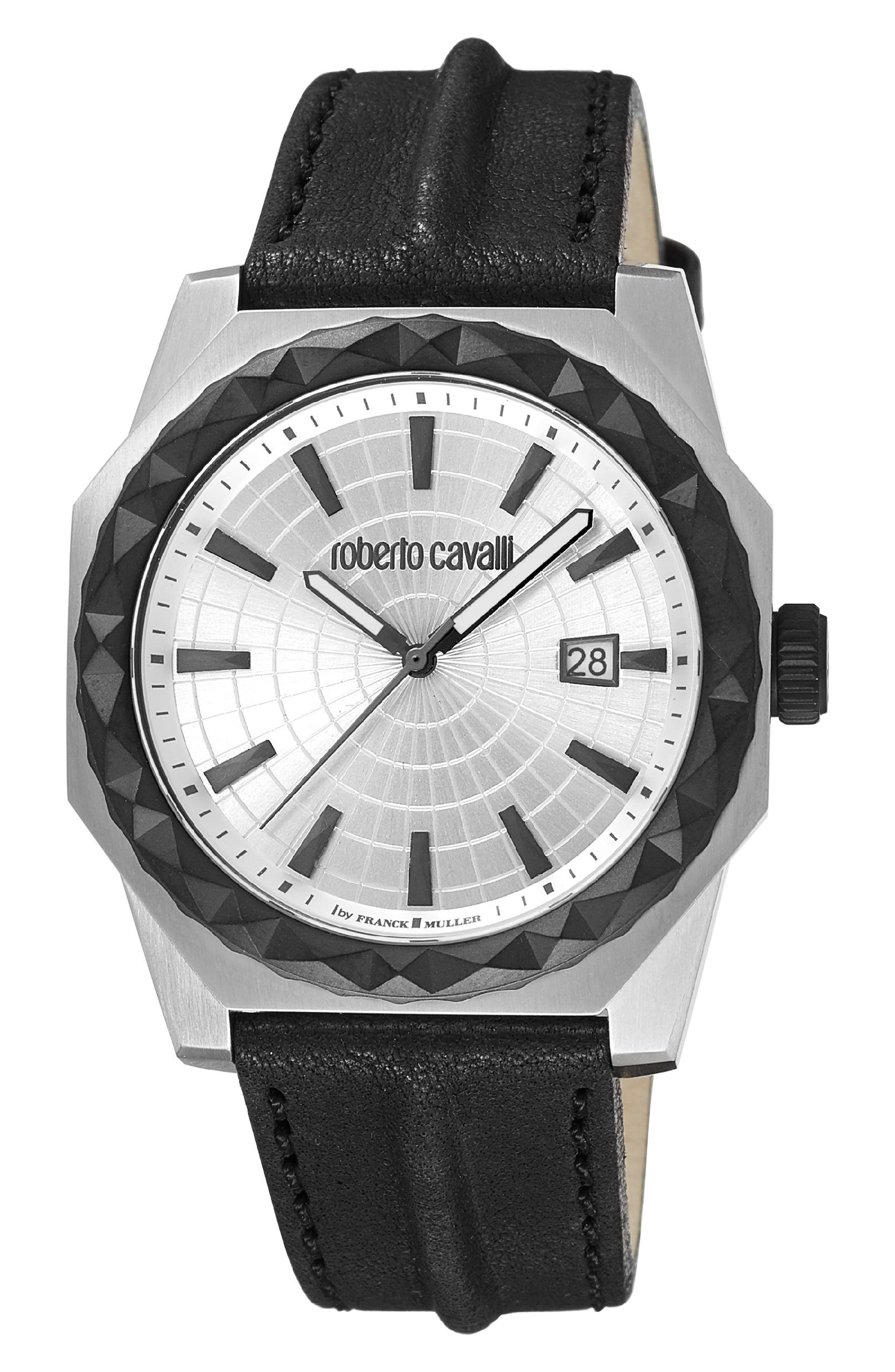 Pyramid Leather Strap Watch, 43mm,                             Main thumbnail 1, color,                             BLACK/ SILVER/ SILVER
