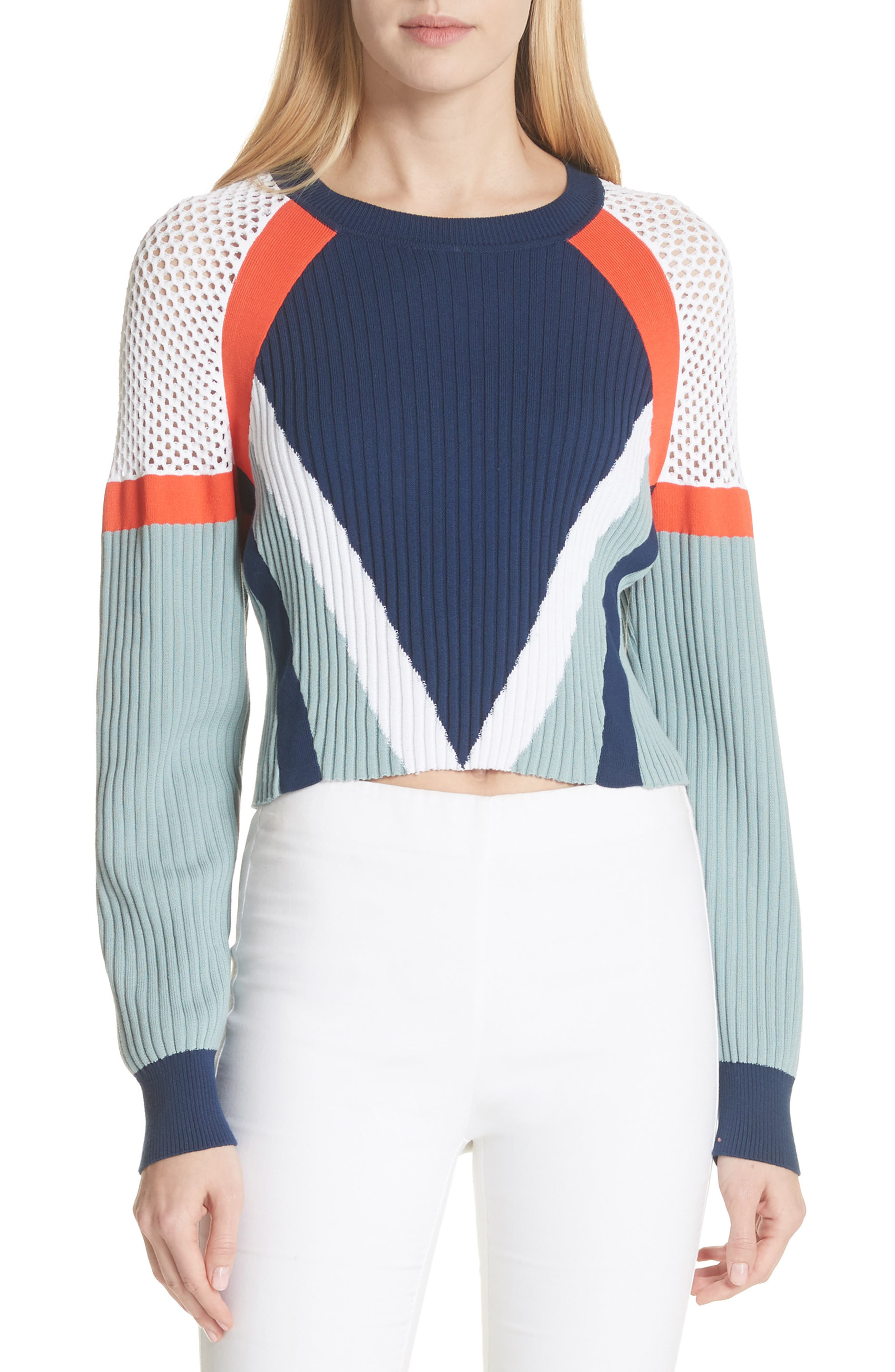 Lark Colorblock Crop Sweater,                             Main thumbnail 1, color,                             463