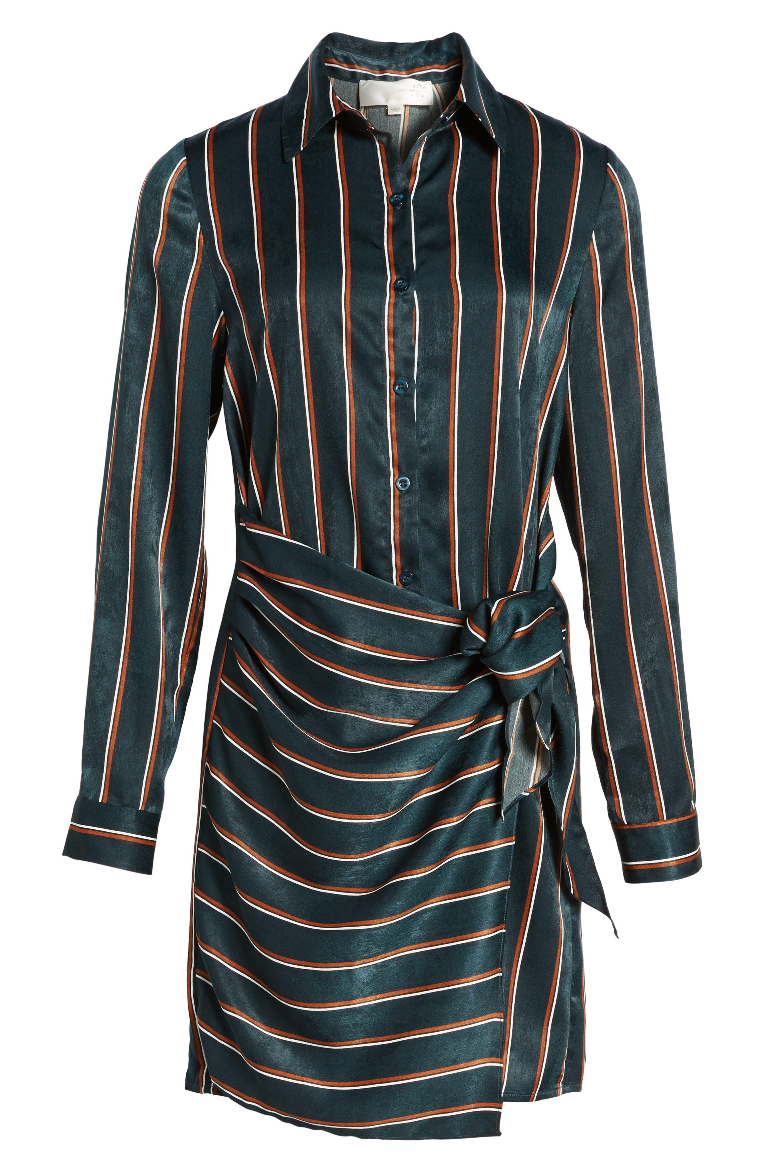 Tie Front Stripe Shirtdress,                             Alternate thumbnail 6, color,                             360