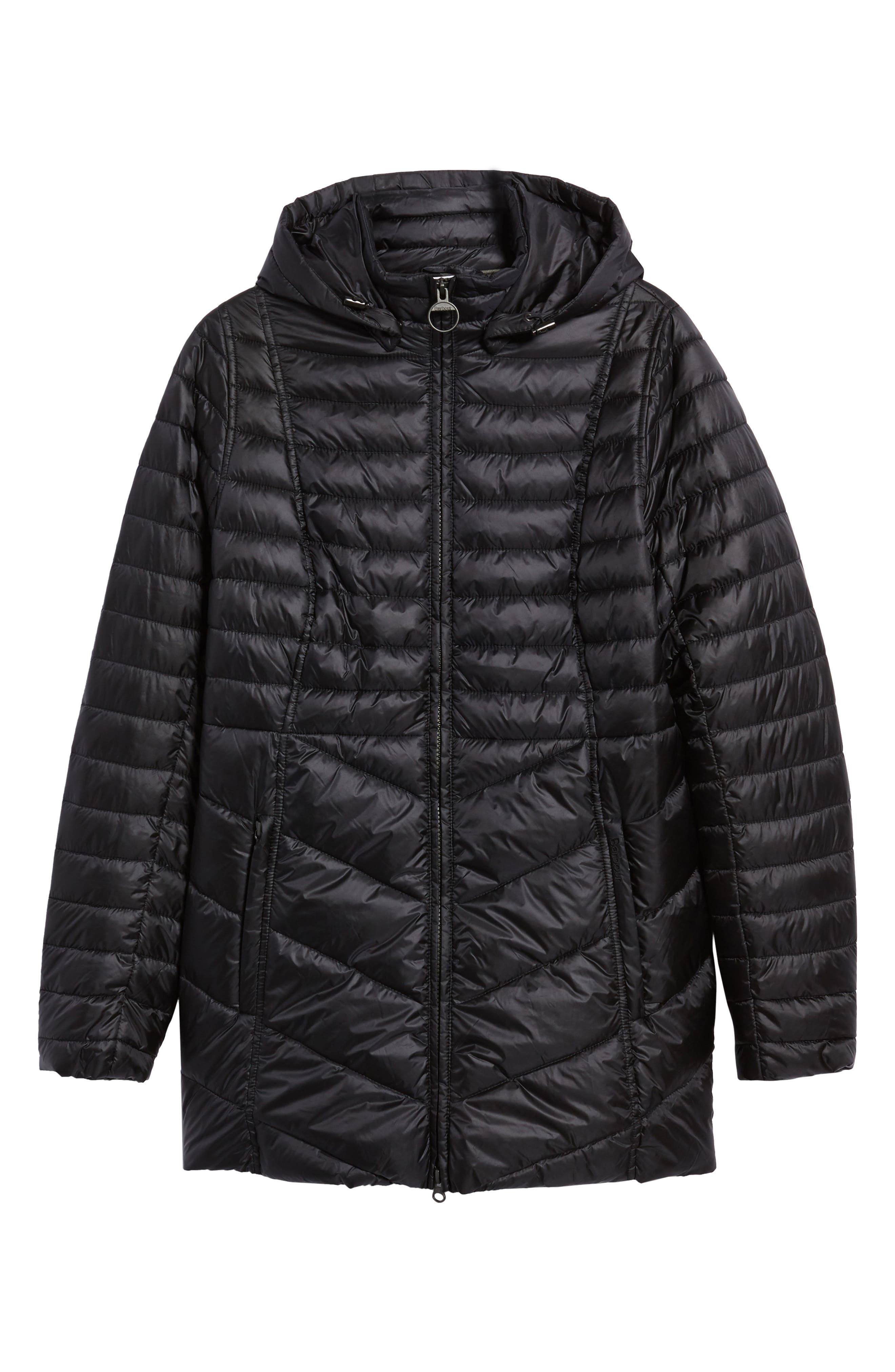 Linton Hooded Water Resistant Quilted Jacket,                             Alternate thumbnail 5, color,                             001