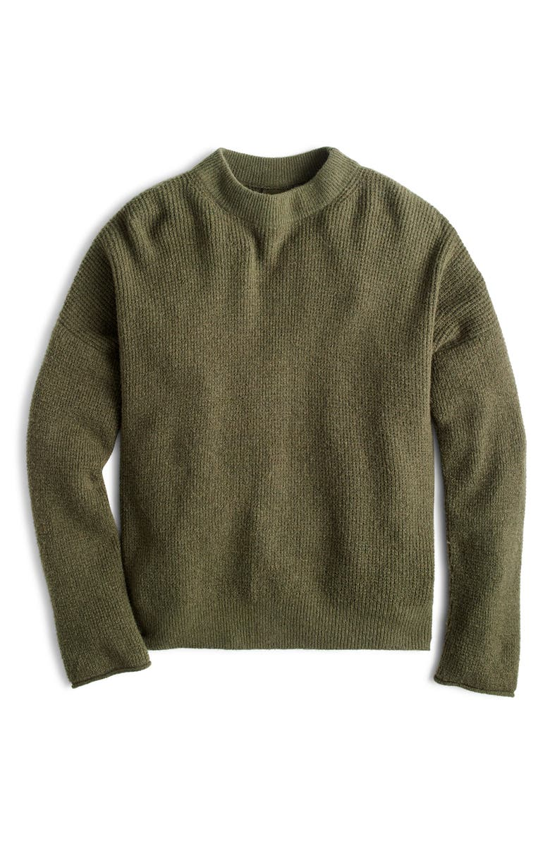 Point Sur Button Back Waffle Sweater,                         Main,                         color, HTHR FROSTY OLIVE