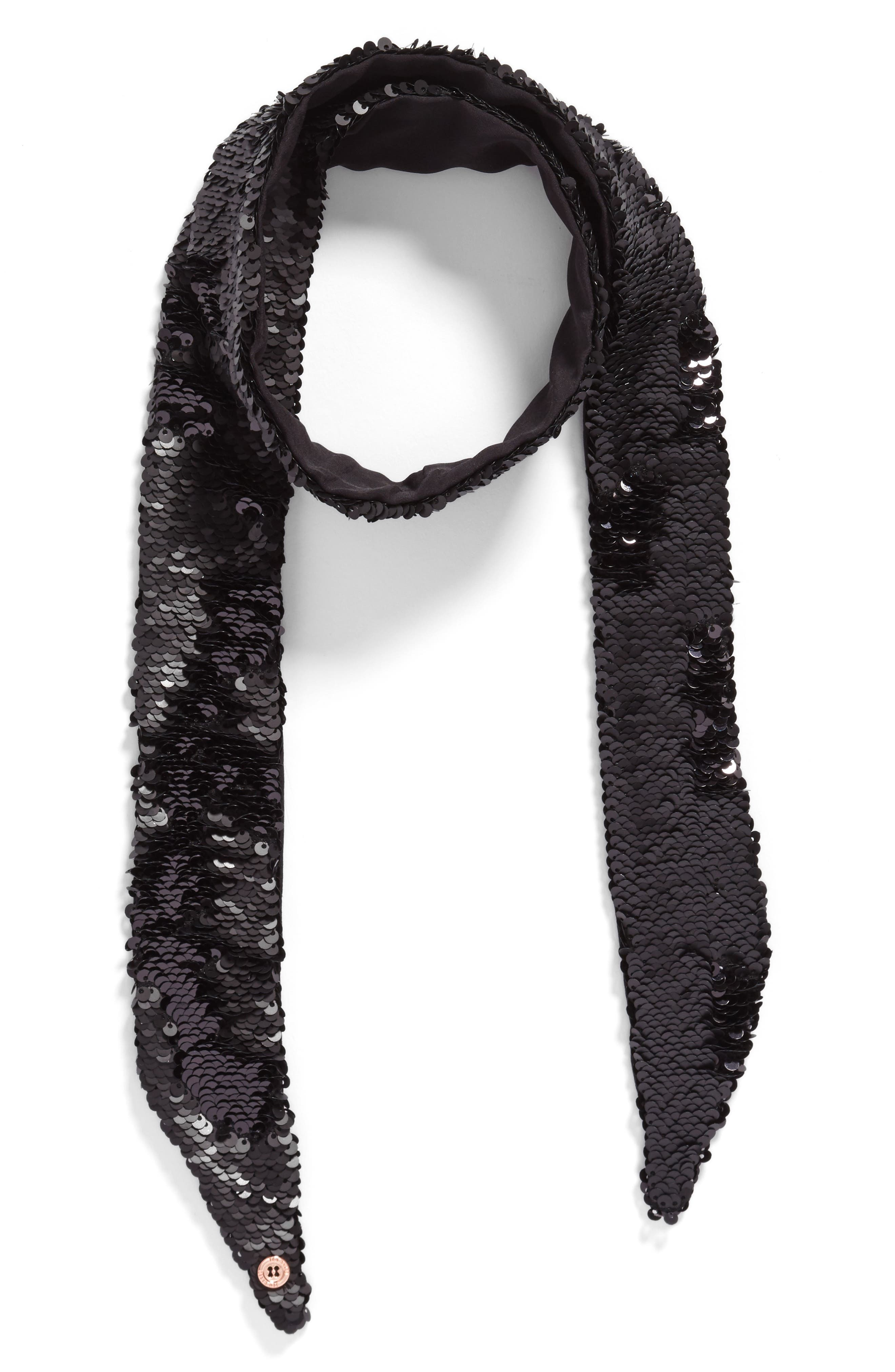 Sequin Velvet Skinny Scarf,                             Alternate thumbnail 2, color,                             001