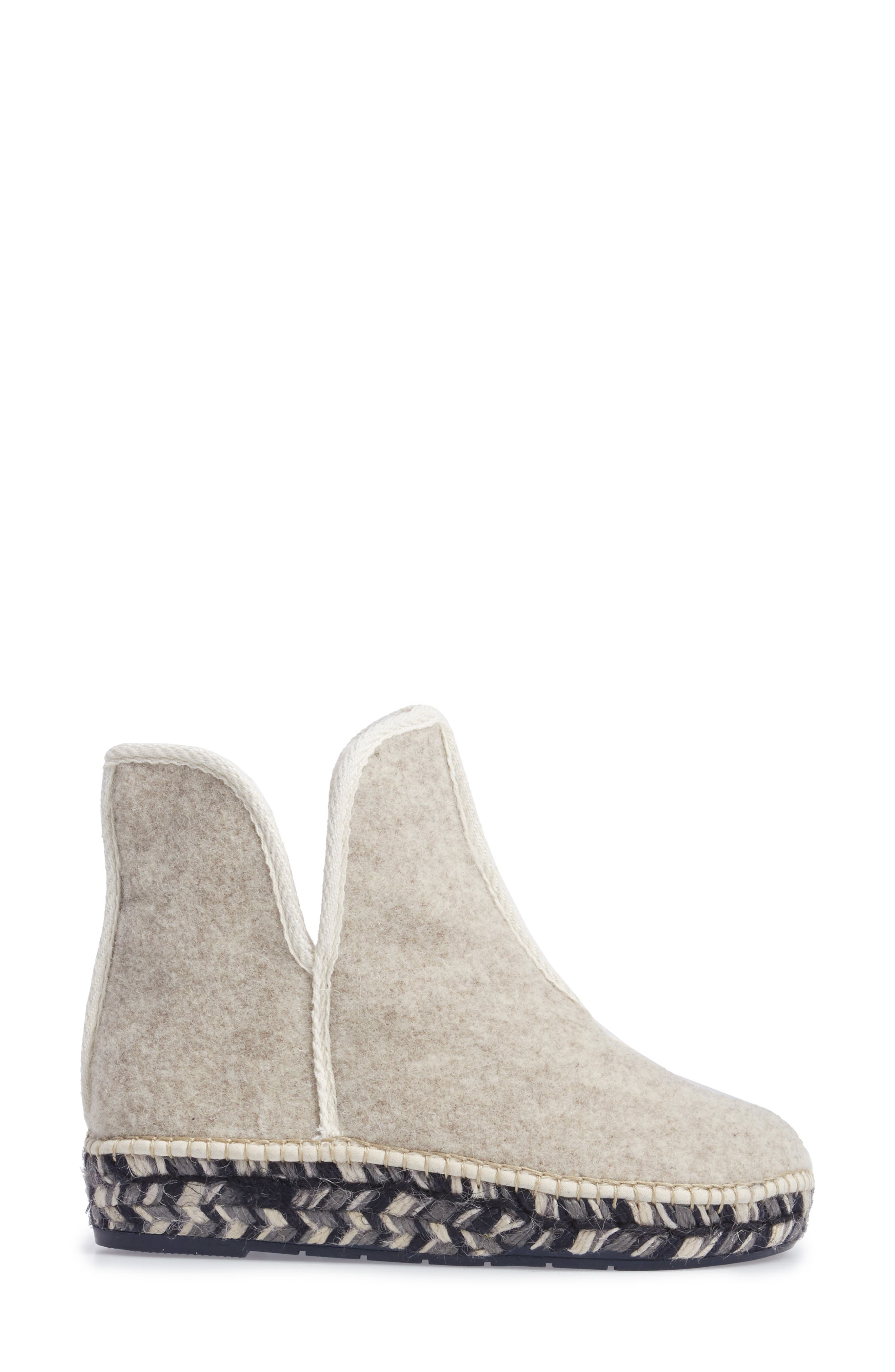 Espadrille Platform Bootie with Faux Fur Lining,                             Alternate thumbnail 3, color,                             ECRU FELT
