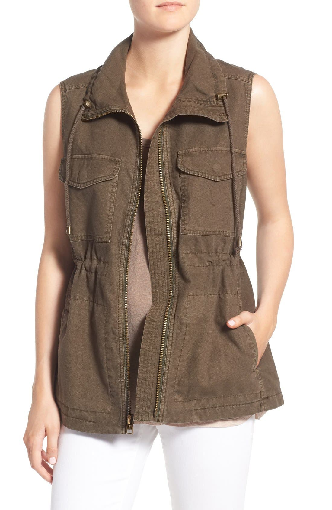 Cotton & Linen Military Vest,                             Main thumbnail 1, color,                             308