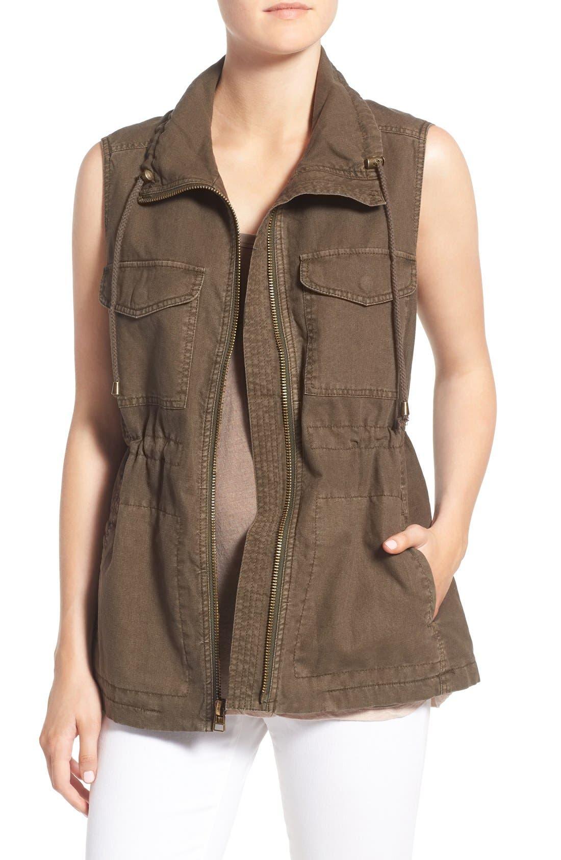 Cotton & Linen Military Vest,                         Main,                         color, 308
