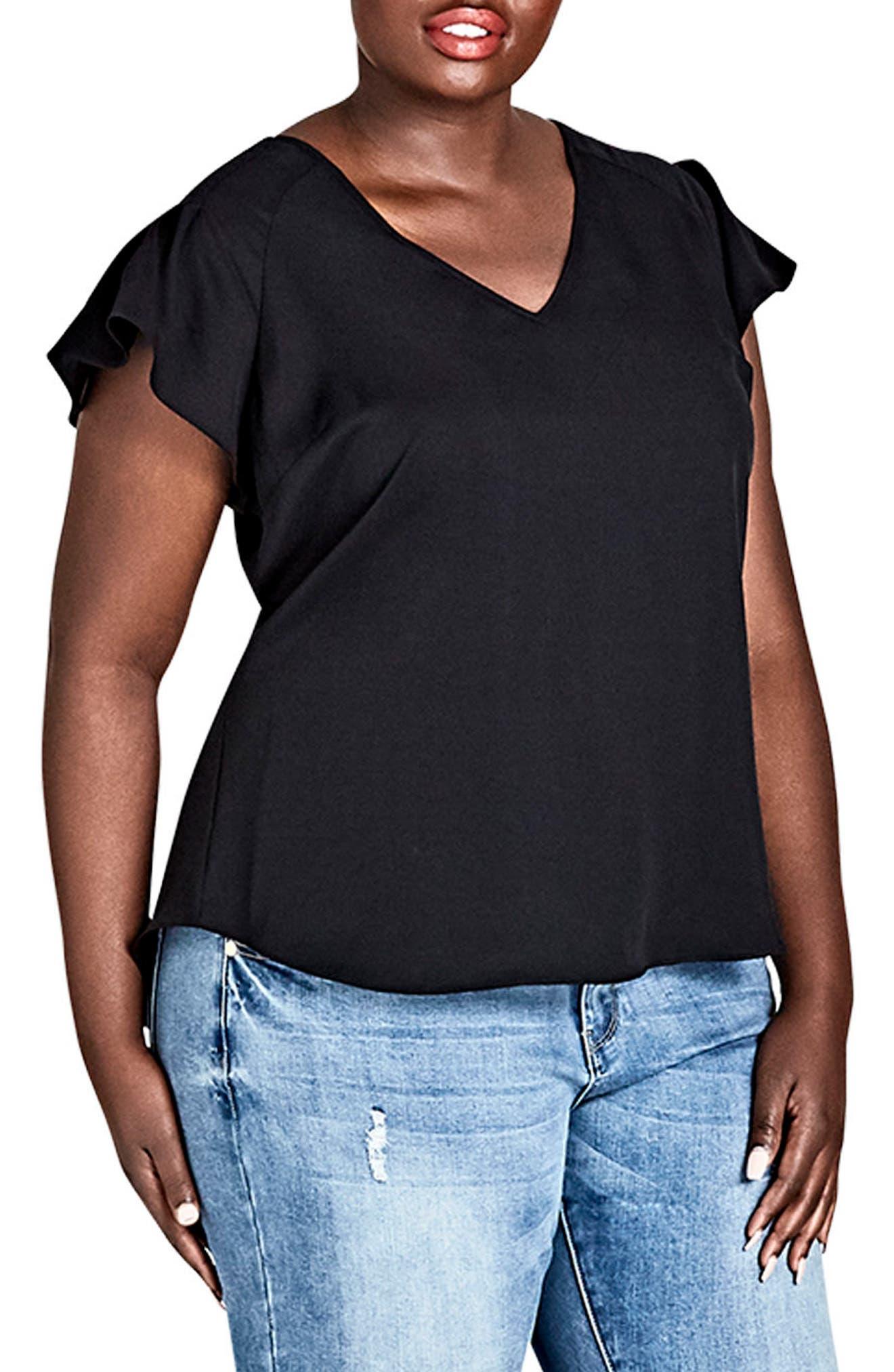 Flirty Shoulder Top,                         Main,                         color, BLACK