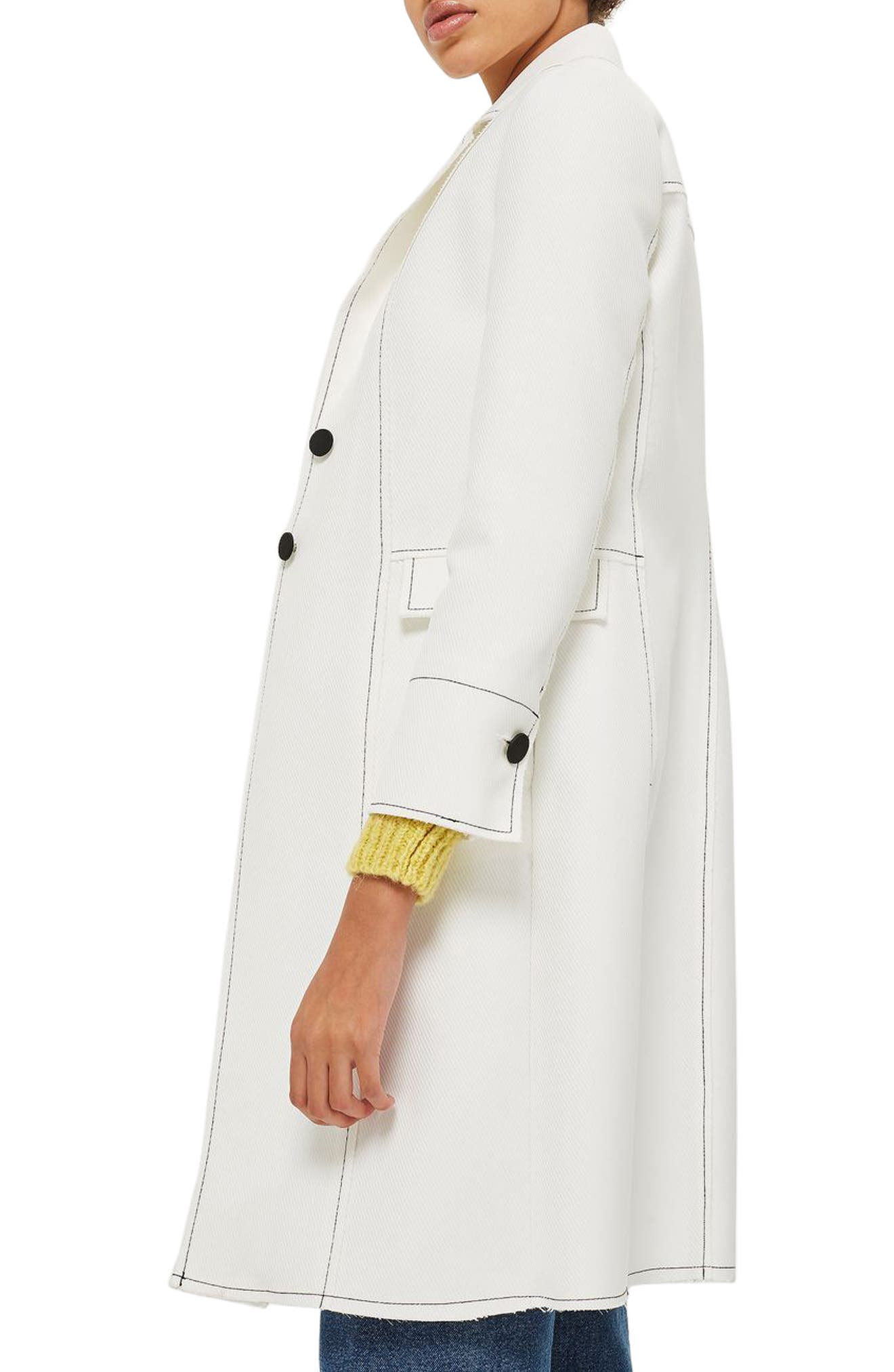 Contrast Stitch Twill Coat,                             Alternate thumbnail 3, color,                             100