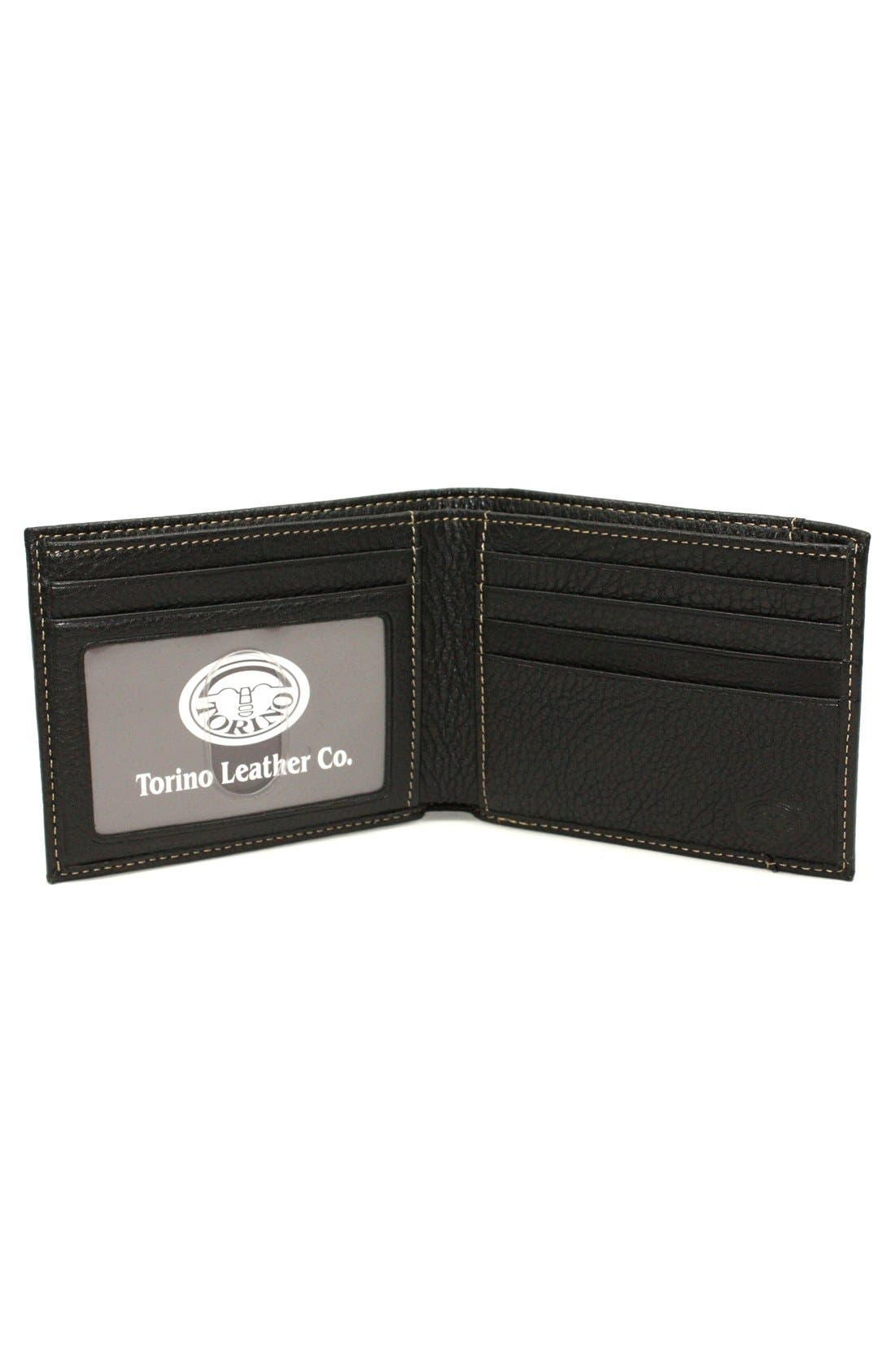 Leather Billfold Wallet,                             Alternate thumbnail 2, color,                             BLACK