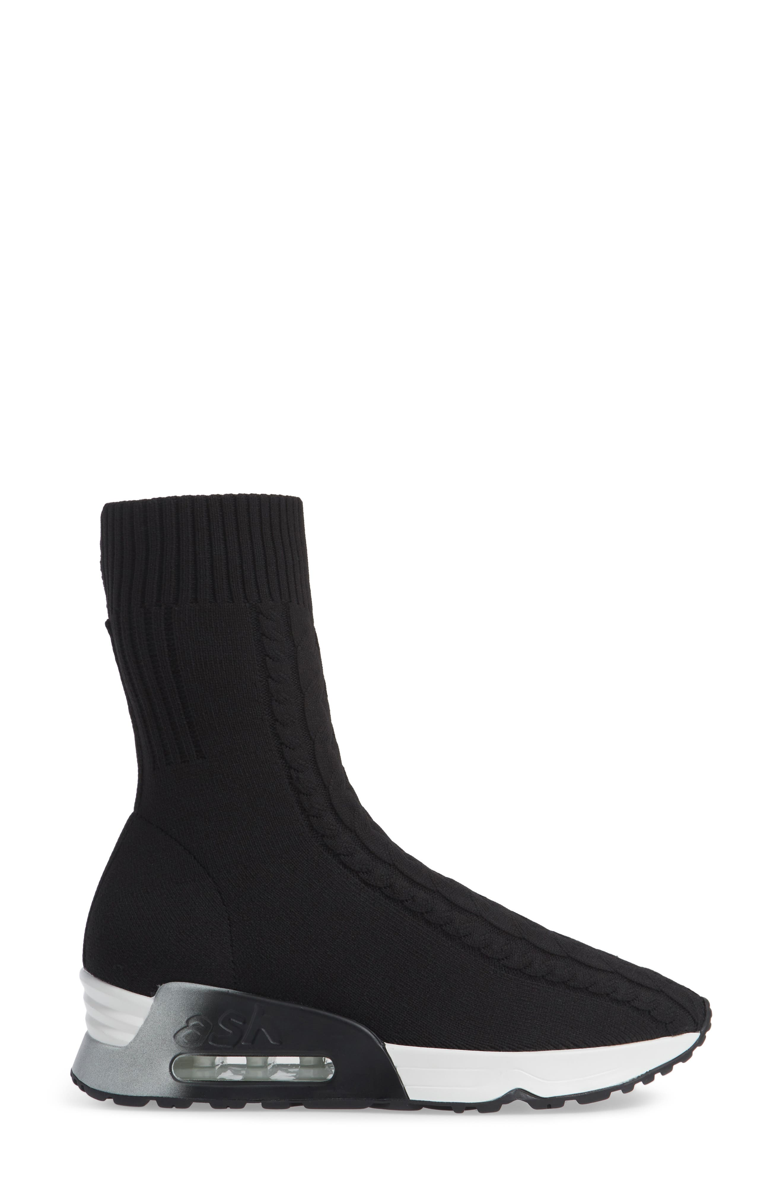 Liv Knit Sneaker Bootie,                             Alternate thumbnail 3, color,                             BLACK