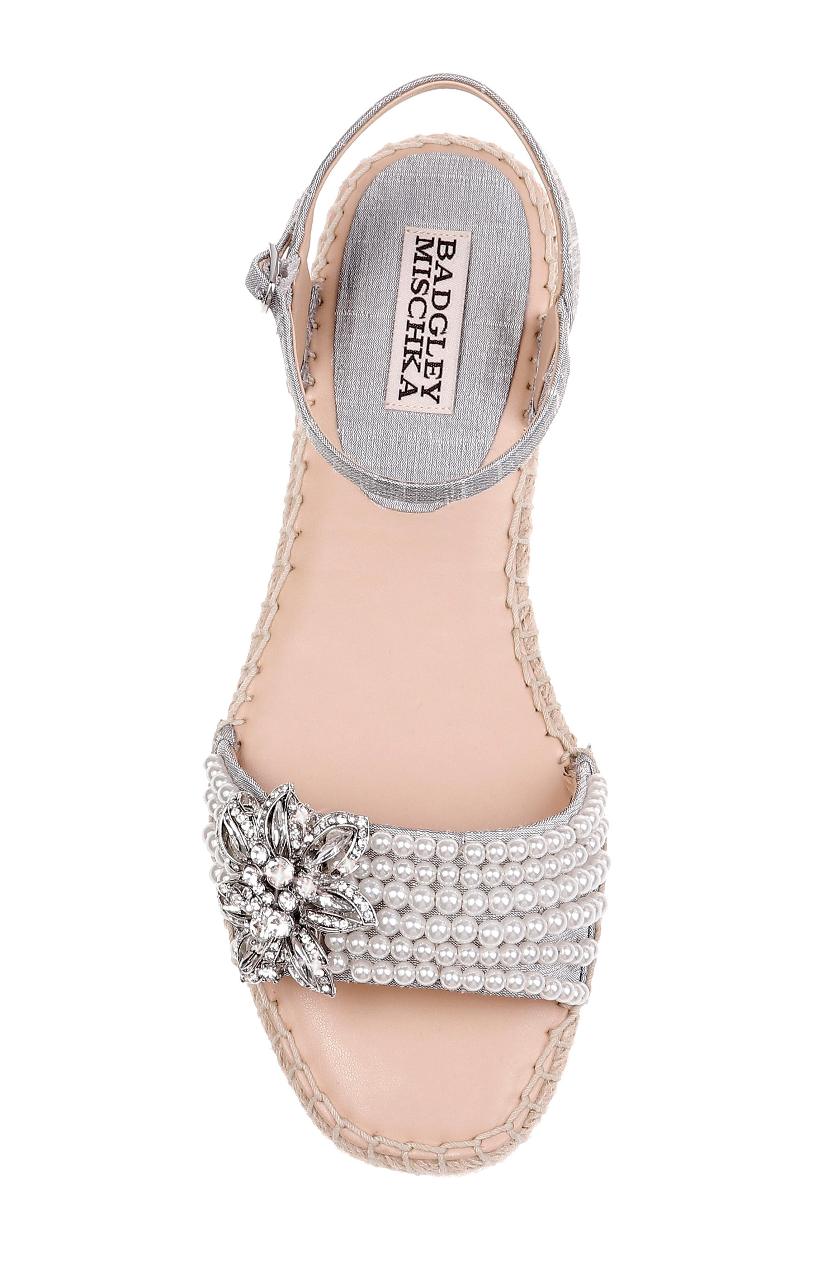 Badgley Mischka Leandra Espadrille Sandal,                             Alternate thumbnail 5, color,                             SILVER FABRIC