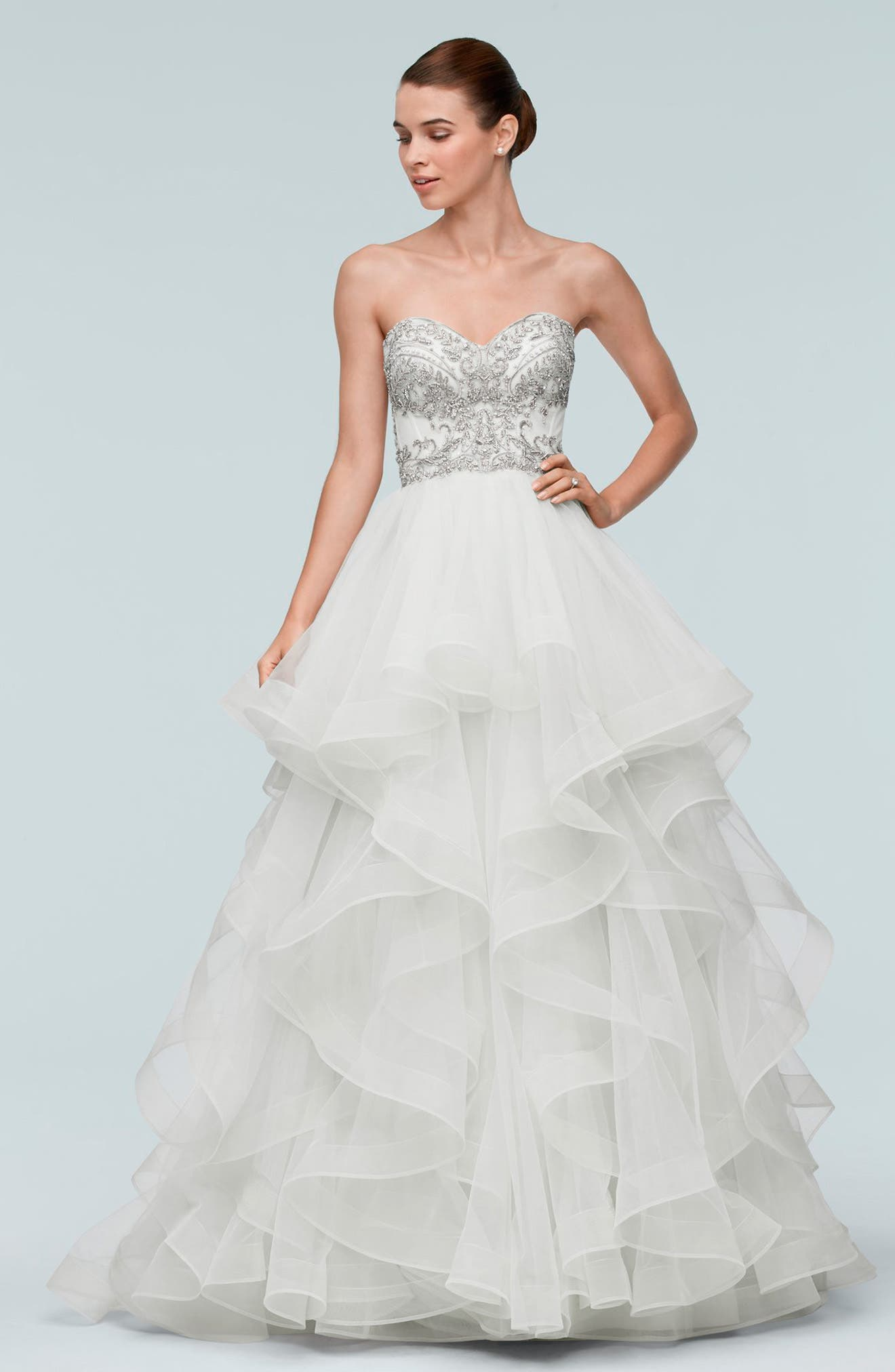 Meri Beaded Strapless Layered Tulle Gown,                             Alternate thumbnail 2, color,                             907