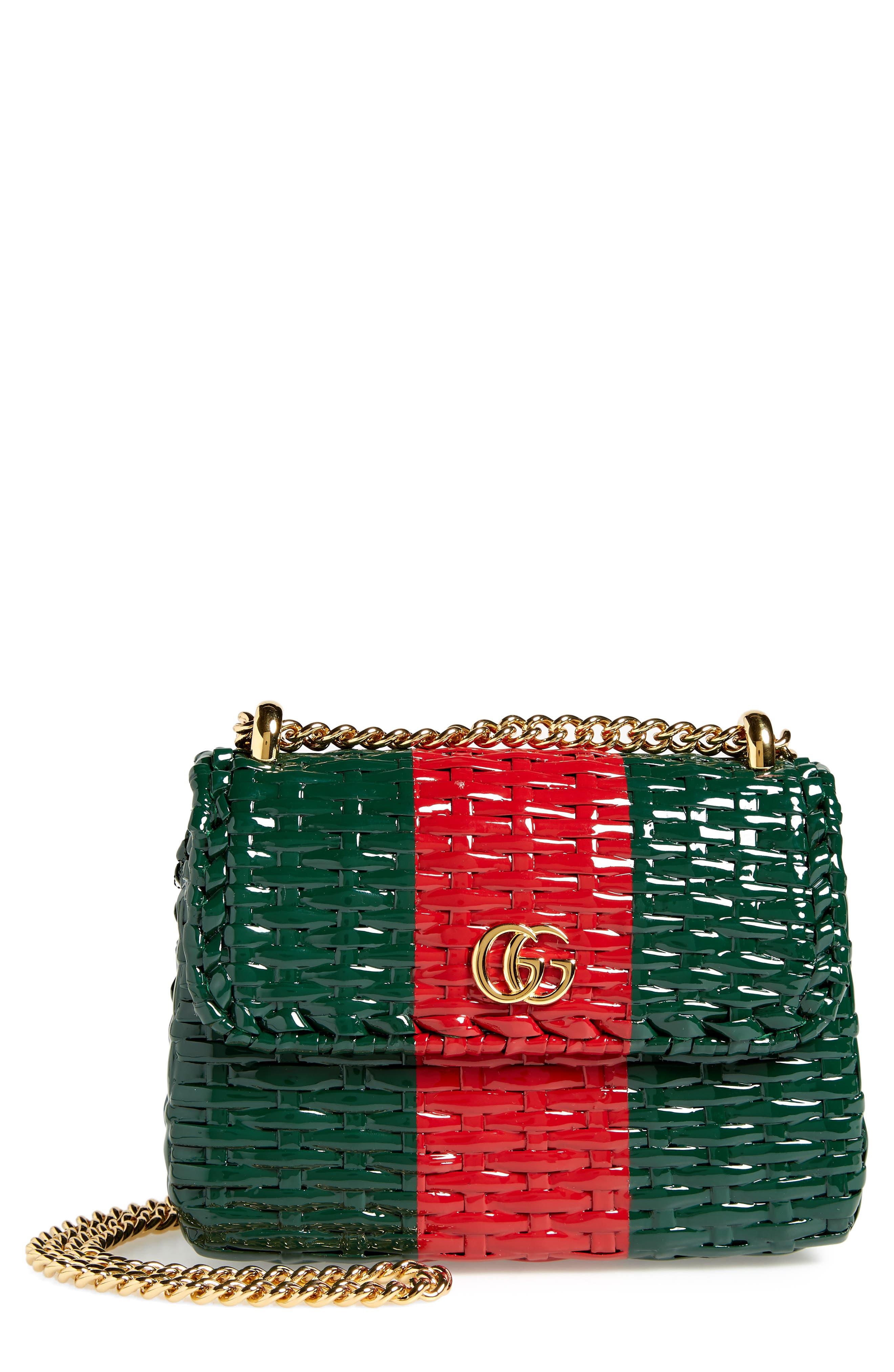 Small Linea Cestino Glazed Wicker Shoulder Bag,                         Main,                         color, VERDE ROSSO VERDE