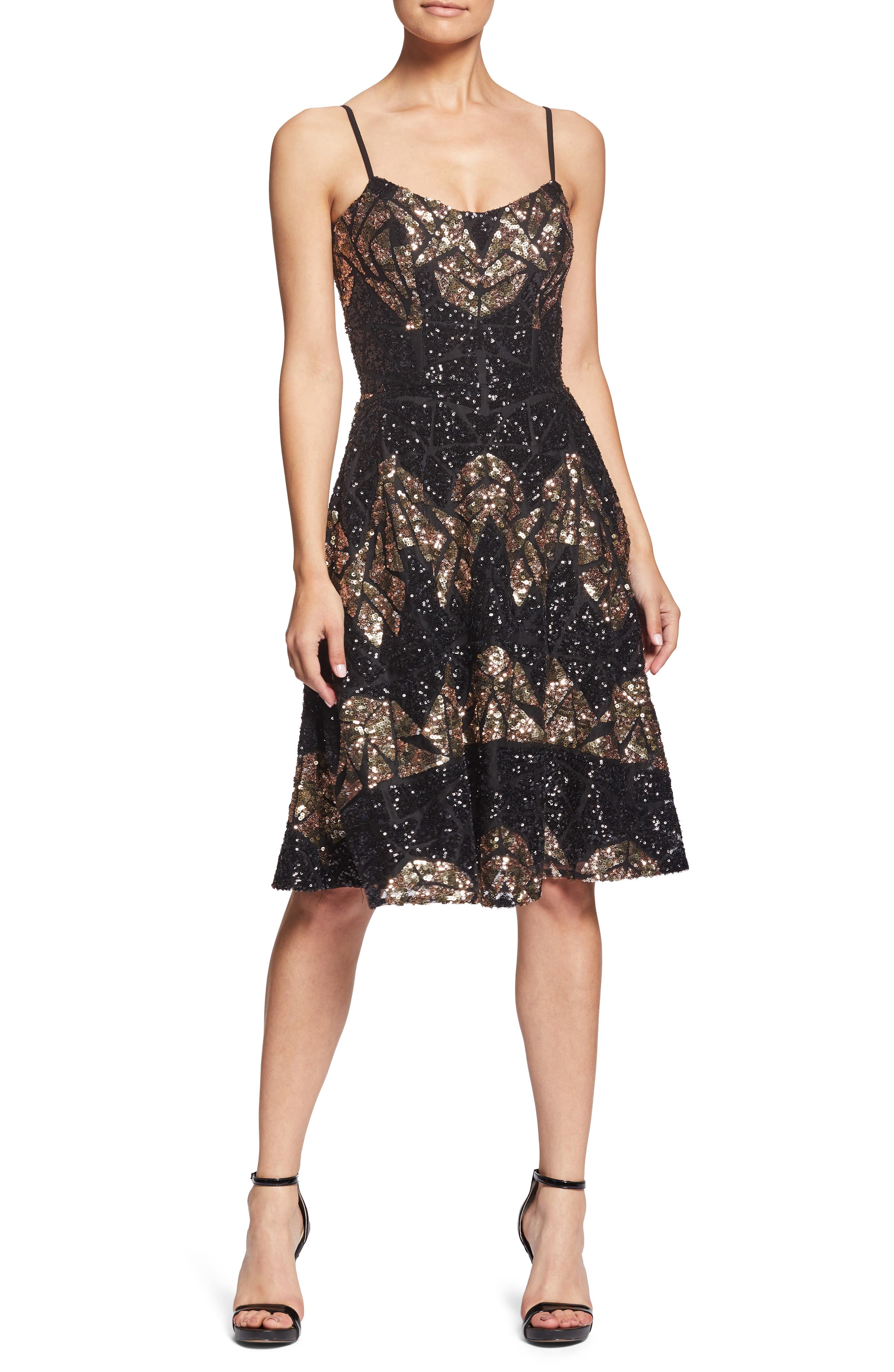 Dress The Population Nikki Geometric Sequin Dress, Black