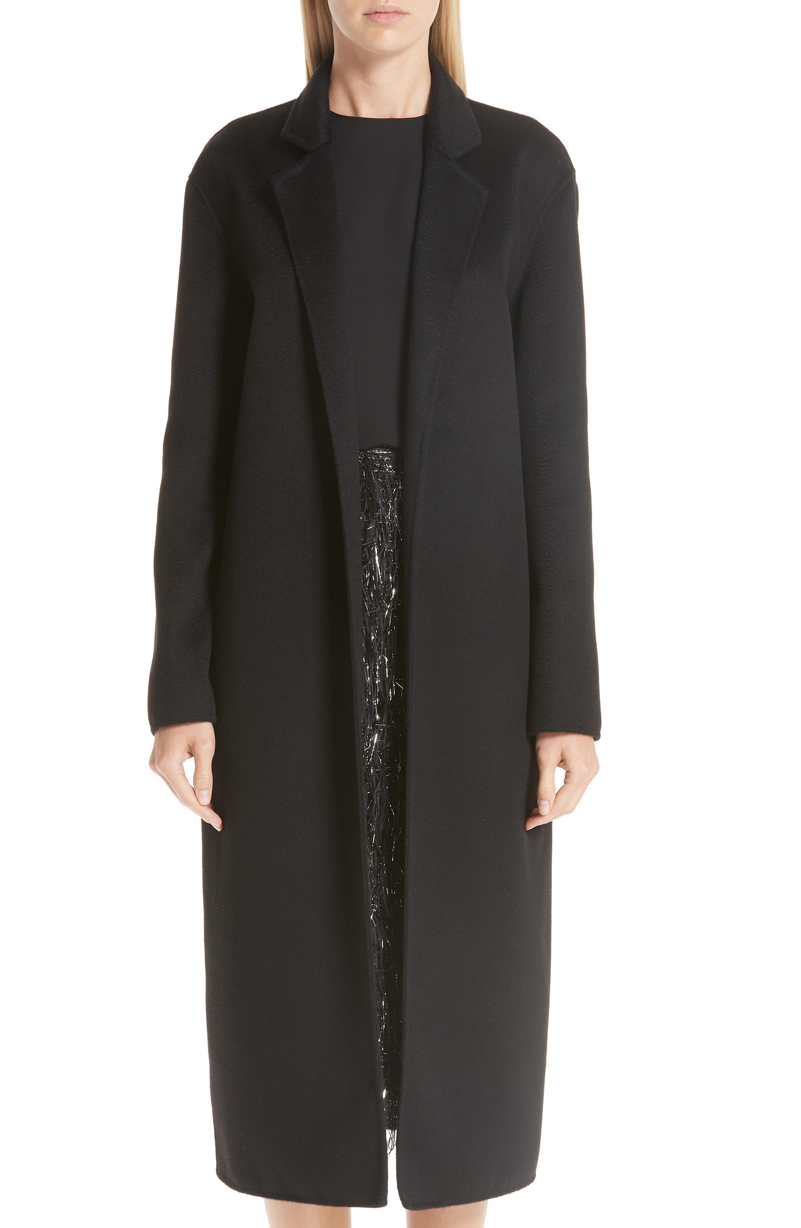 MANSUR GAVRIEL Longline Cashmere Coat, Main, color, 001
