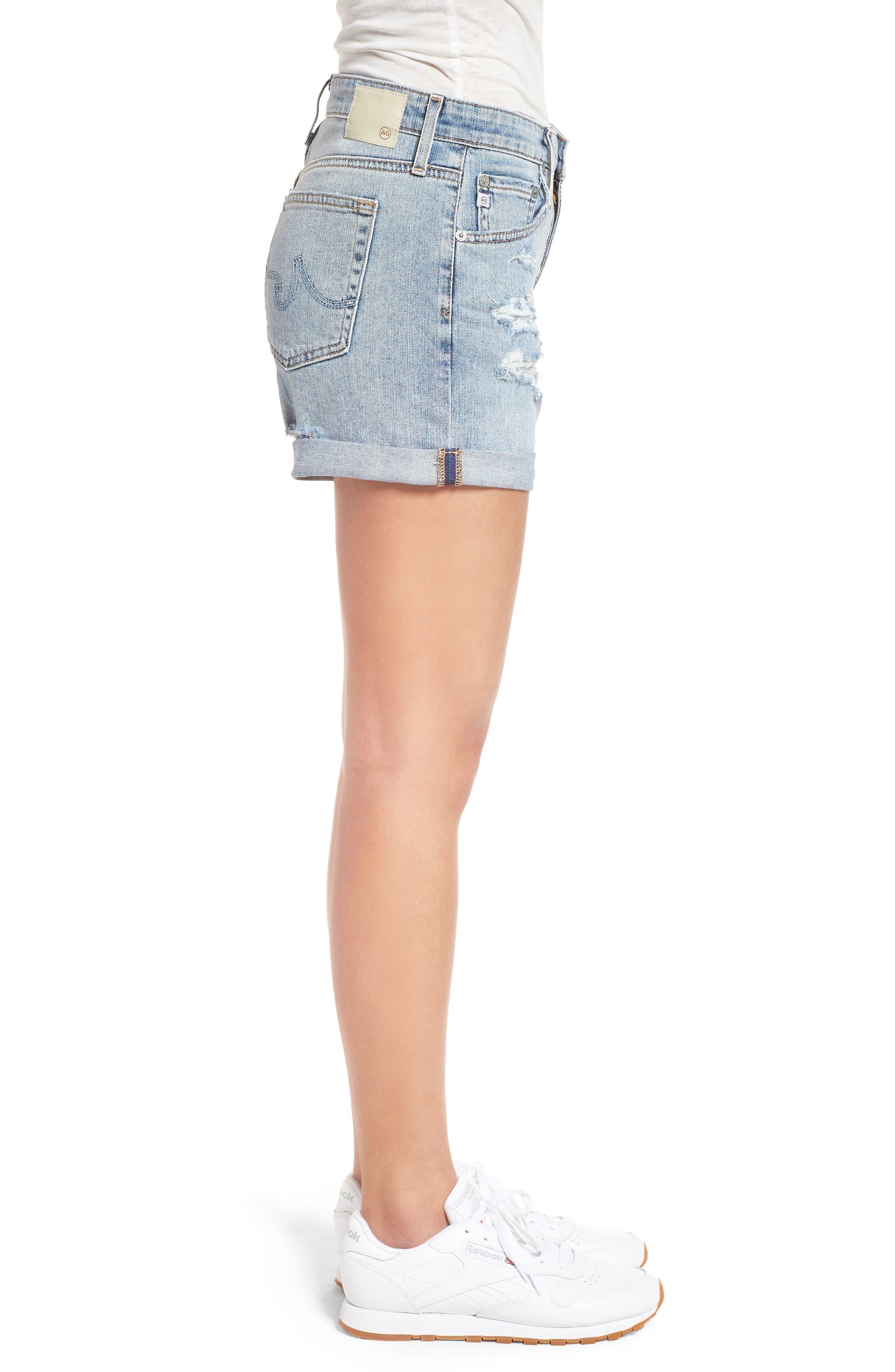 Hailey High Waist Cuff Denim Shorts,                             Alternate thumbnail 3, color,                             21 YRS-REFLECTION DESTRUCTED