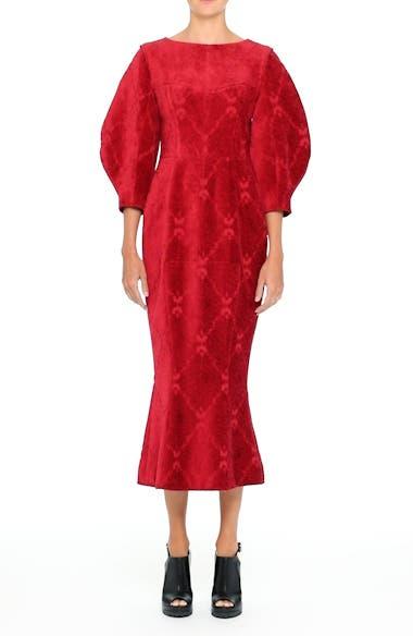 Detachable Sleeve Flocked Velvet Dress, video thumbnail