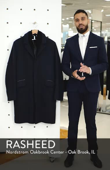 Wool Blend Overcoat with Knit Bib Inset, sales video thumbnail