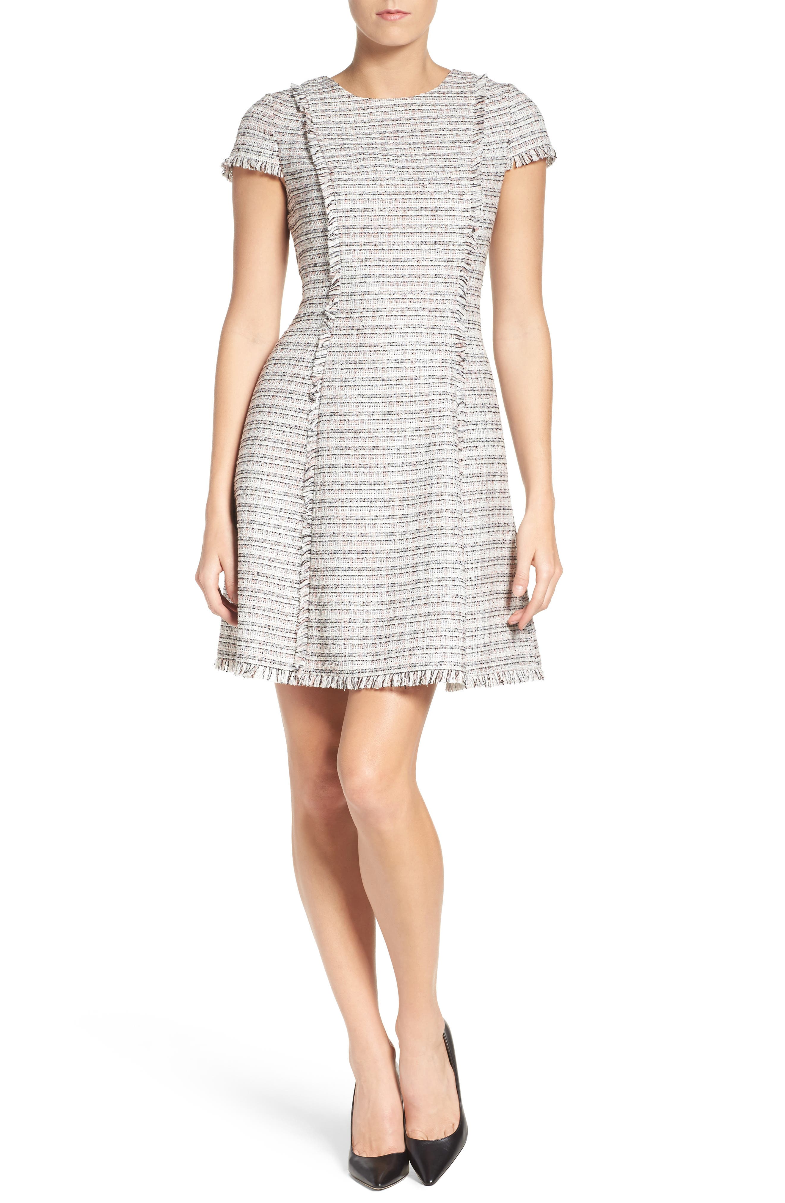 Tweed Fit & Flare Dress,                             Alternate thumbnail 5, color,                             070