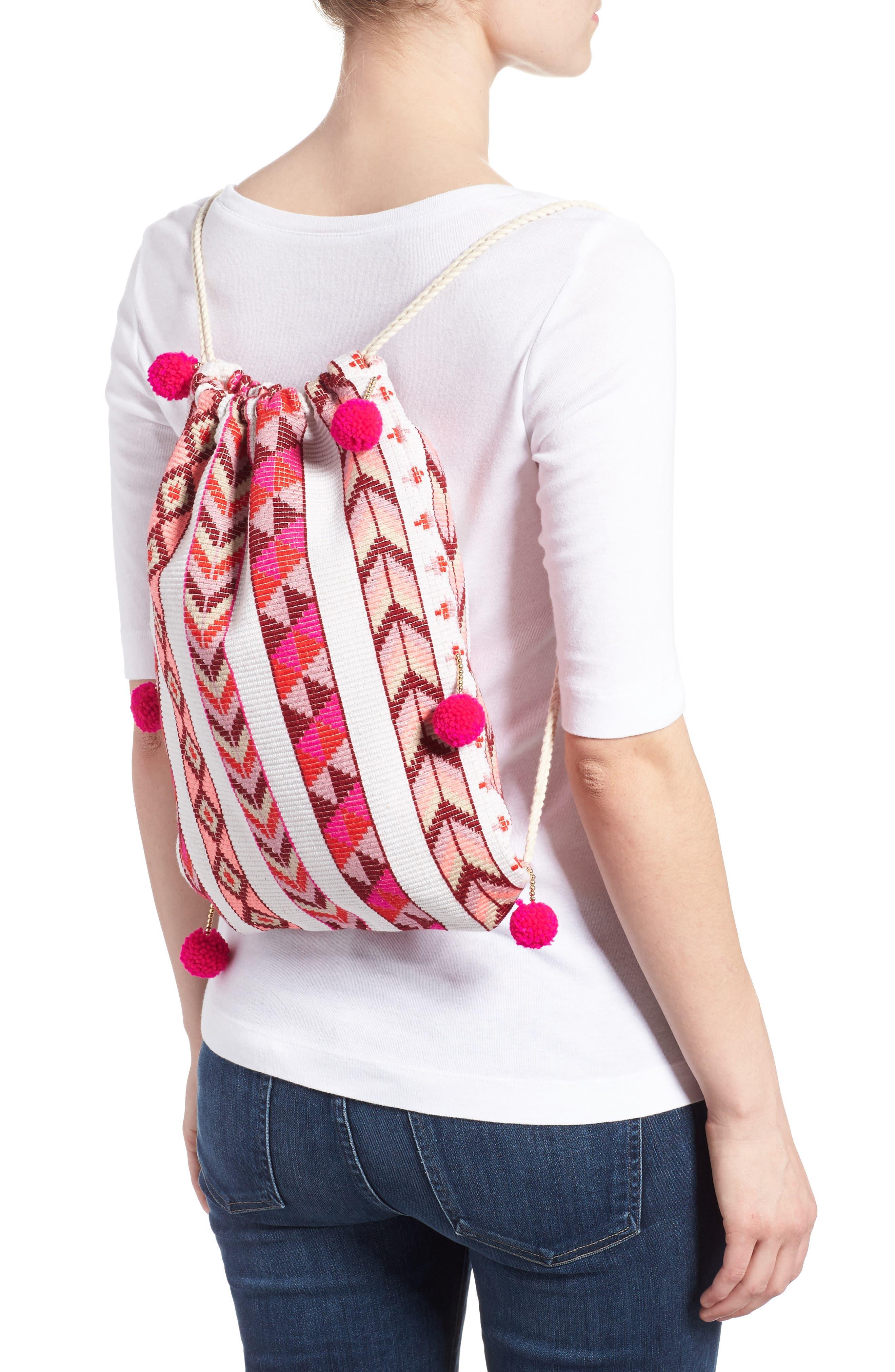 Pompom Drawstring Bag,                             Alternate thumbnail 6, color,