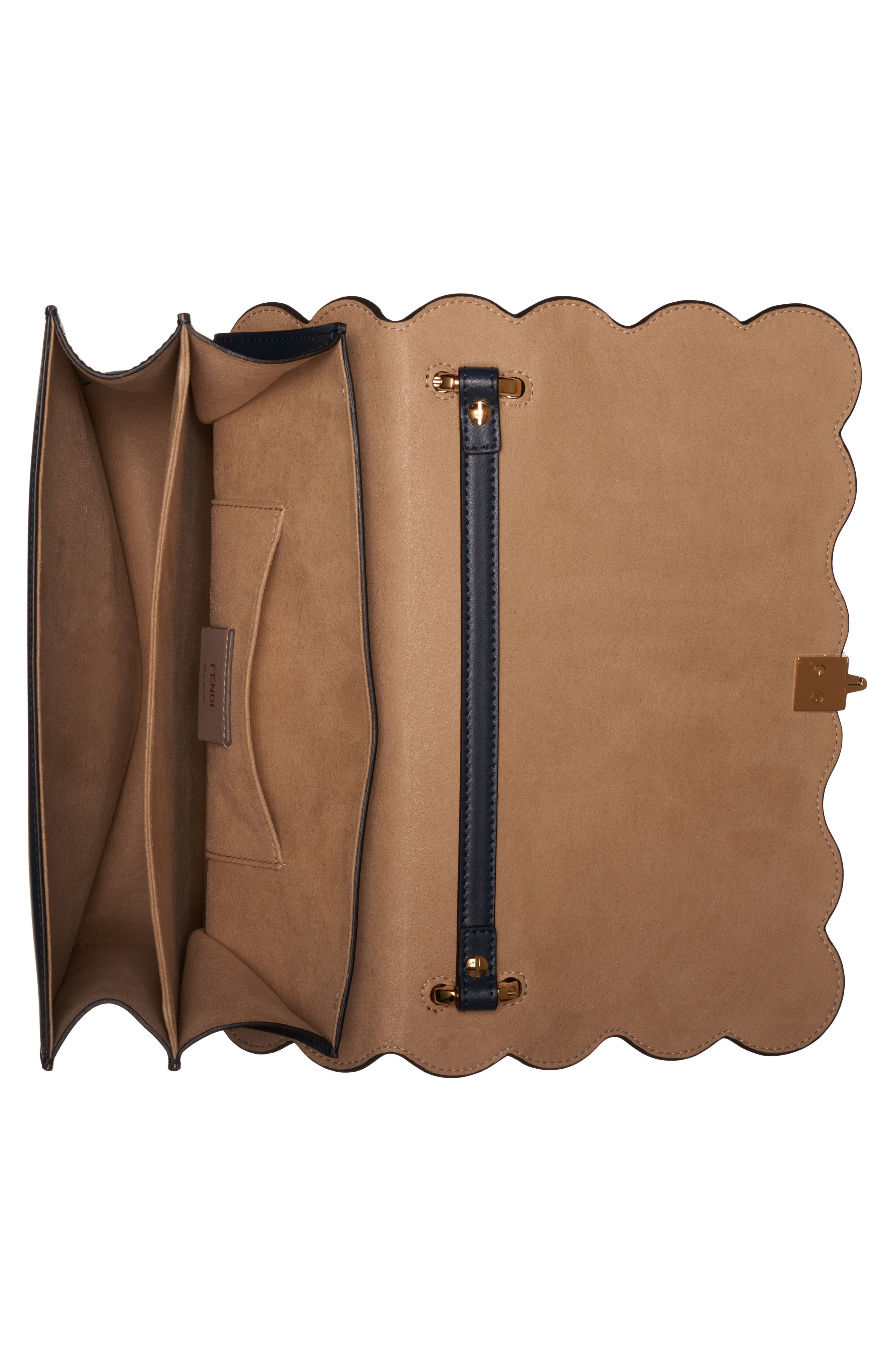 FENDI,                             Kan I Liberty Flower Leather Shoulder Bag,                             Alternate thumbnail 4, color,                             NOTTURNO