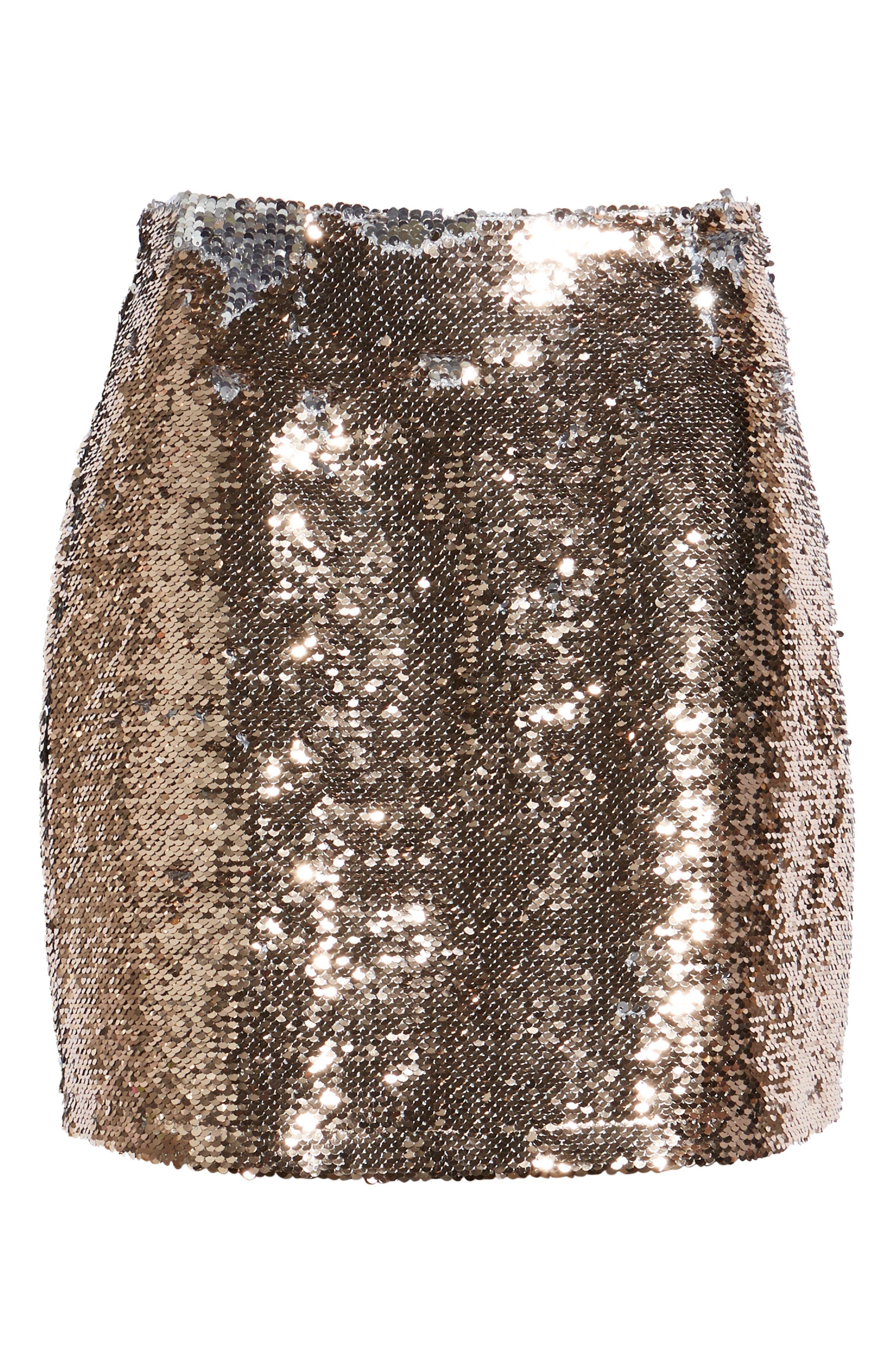 Sequin Miniskirt,                             Alternate thumbnail 6, color,                             ROSE