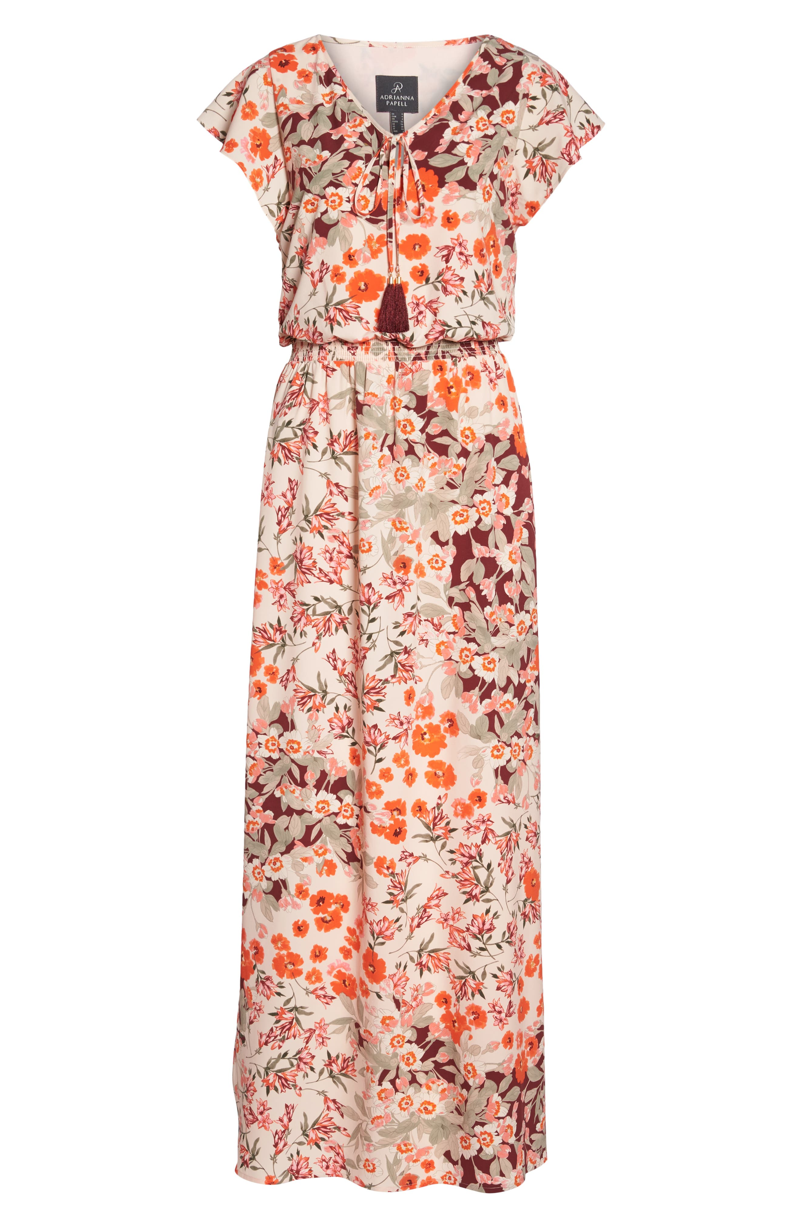 ADRIANNA PAPELL,                             Floral Ruffle Sleeve Maxi Dress,                             Alternate thumbnail 7, color,                             640